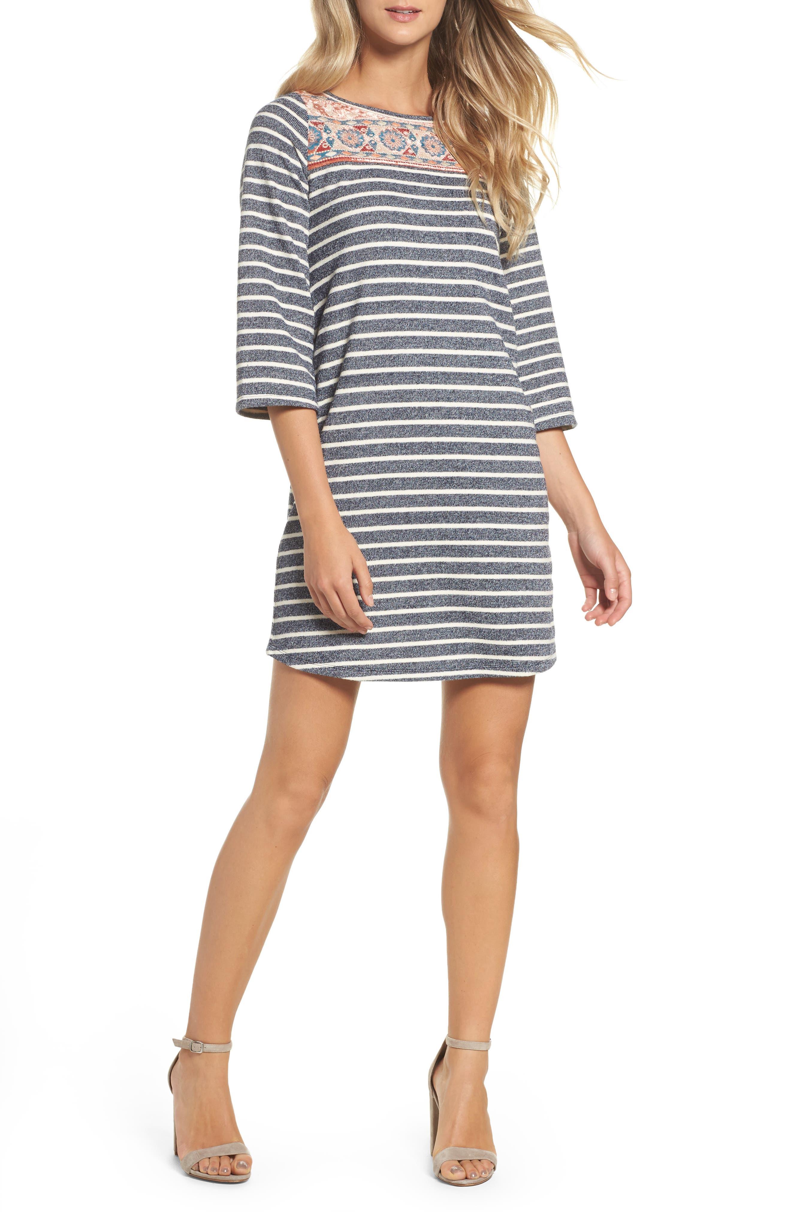 Stripe Shift Dress,                         Main,                         color, Navy