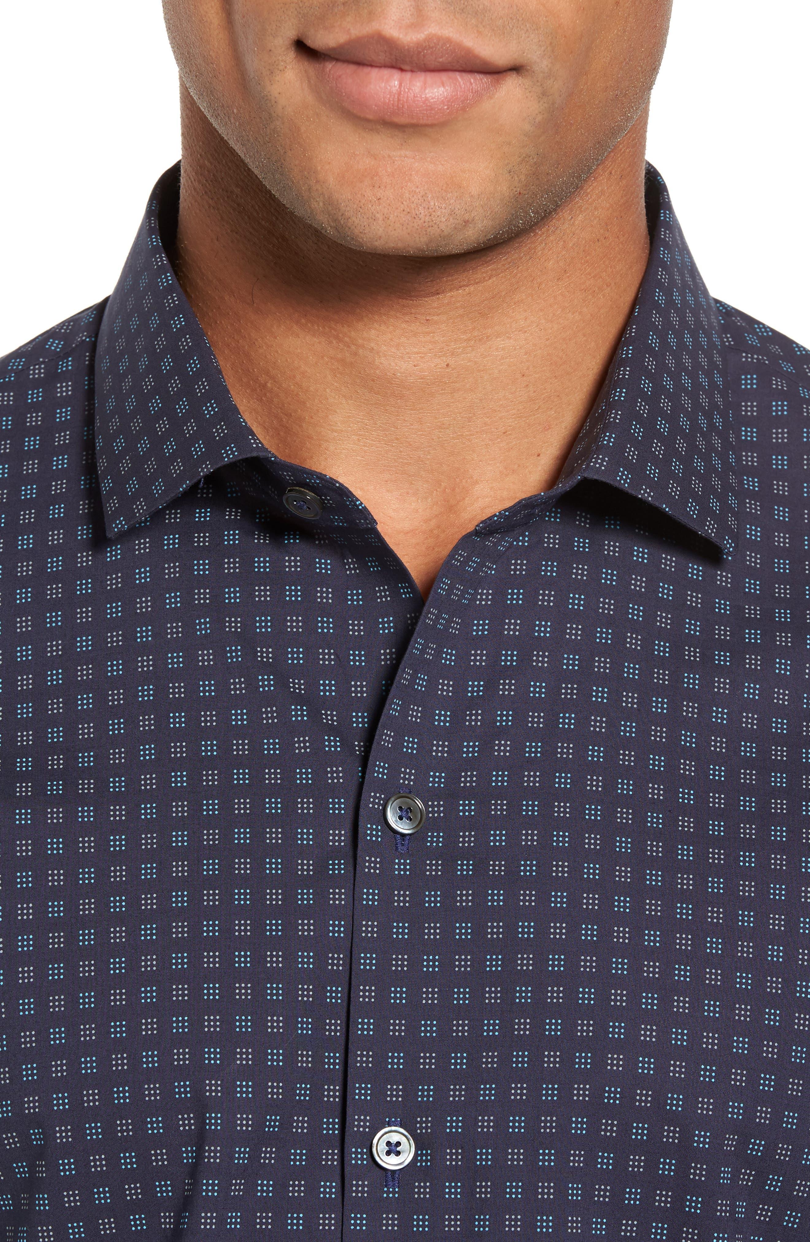 Tennant Slim Fit Dot Print Sport Shirt,                             Alternate thumbnail 4, color,                             Navy