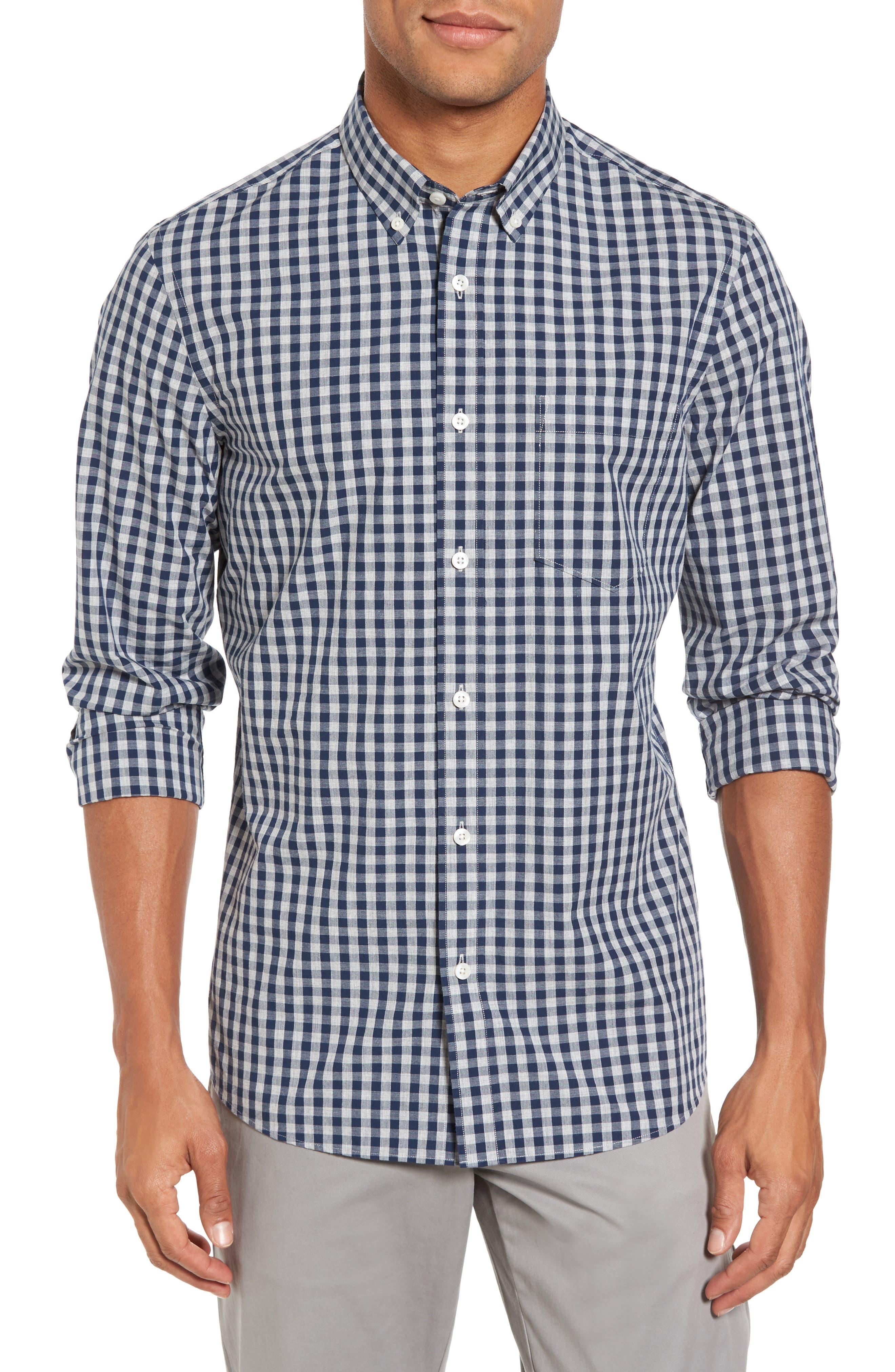 Spade Trim Fit Gingham Check Sport Shirt,                         Main,                         color, Grey Shade Navy Gingham