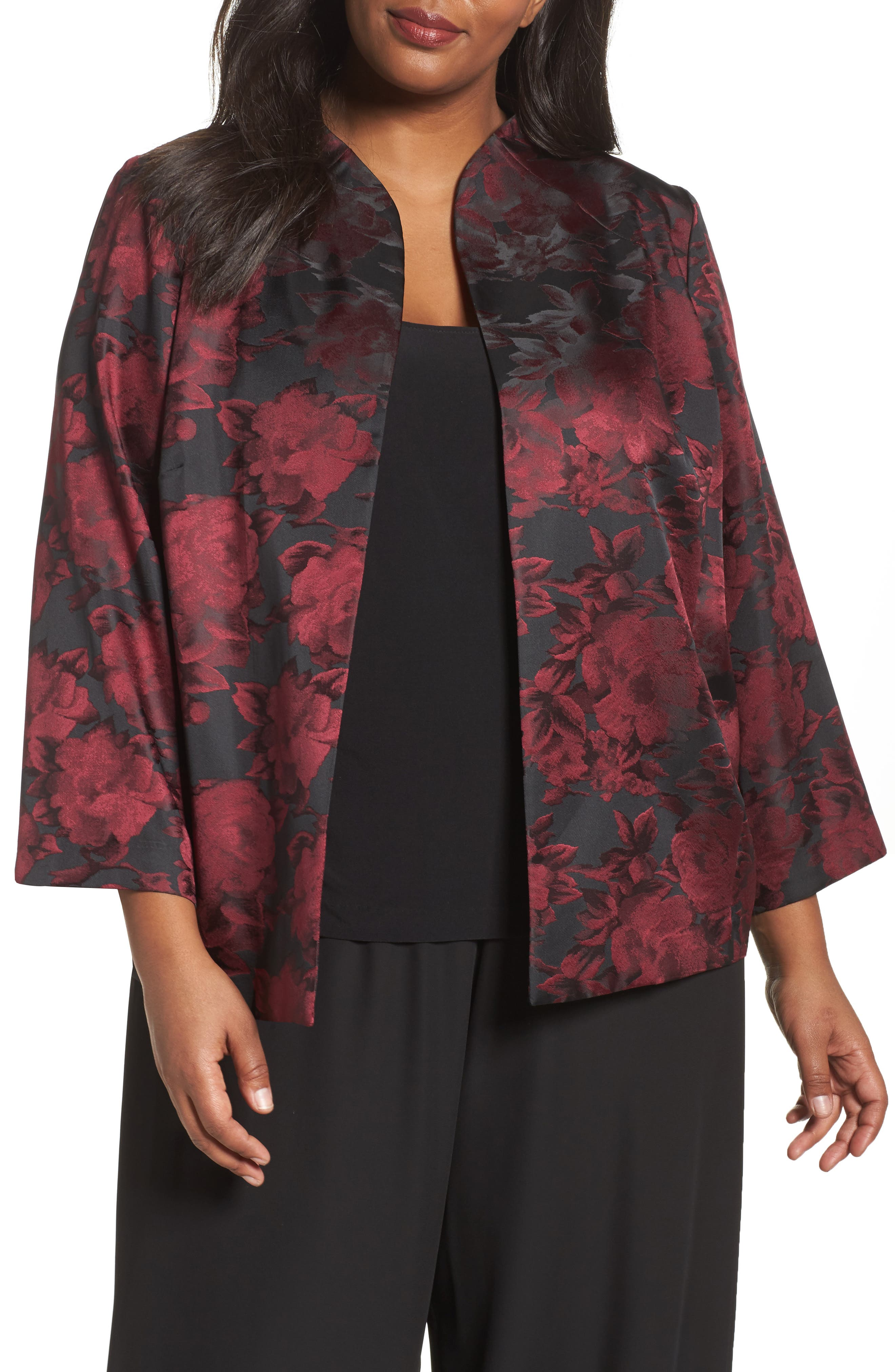 Alex Evenings Floral Print Twinset (Plus Size)