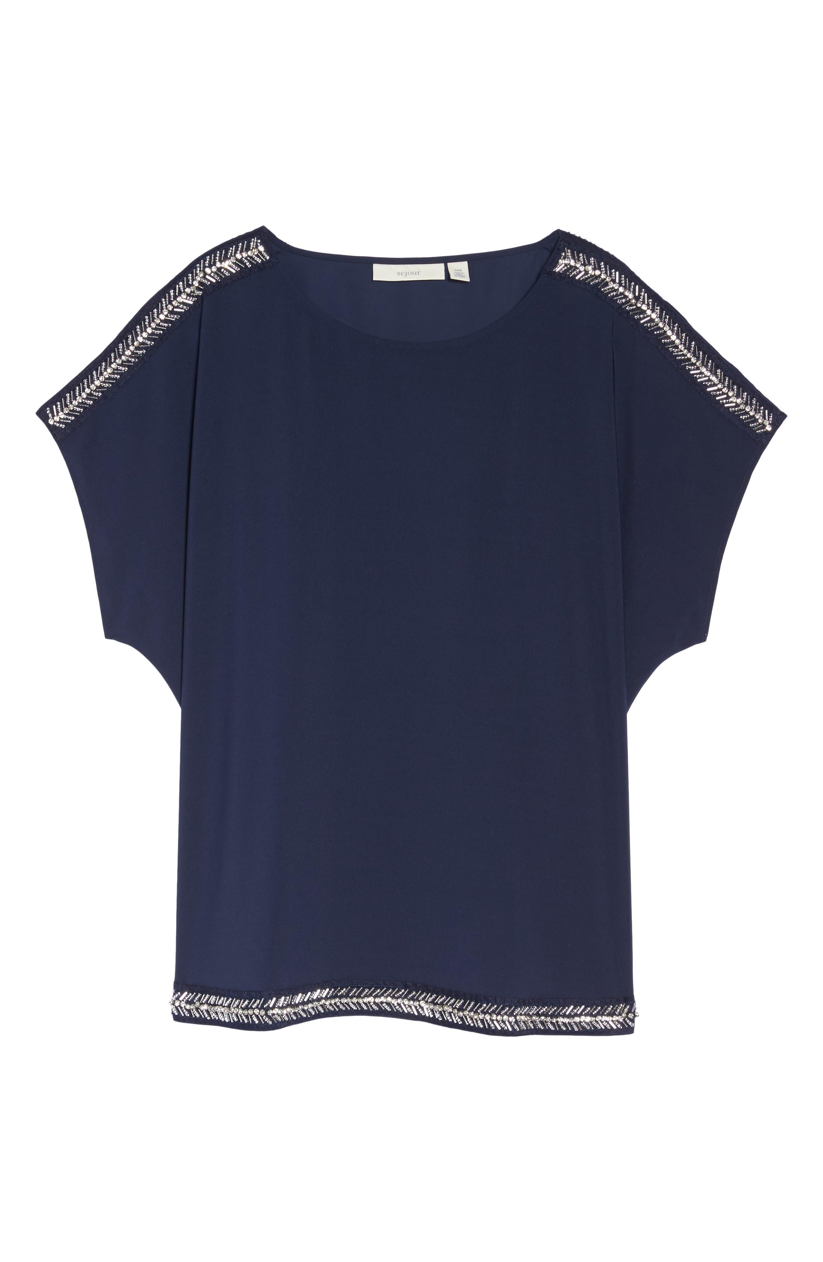 Embellished Slit Sleeve Blouse,                             Alternate thumbnail 6, color,                             Navy Peacoat