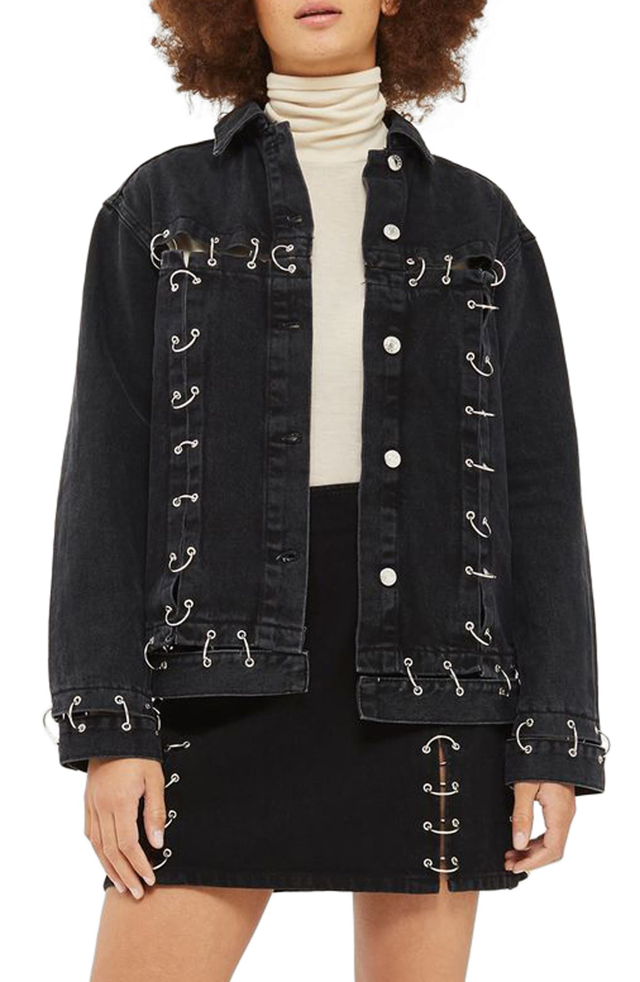 Piercing Detail Denim Jacket,                         Main,                         color, Black