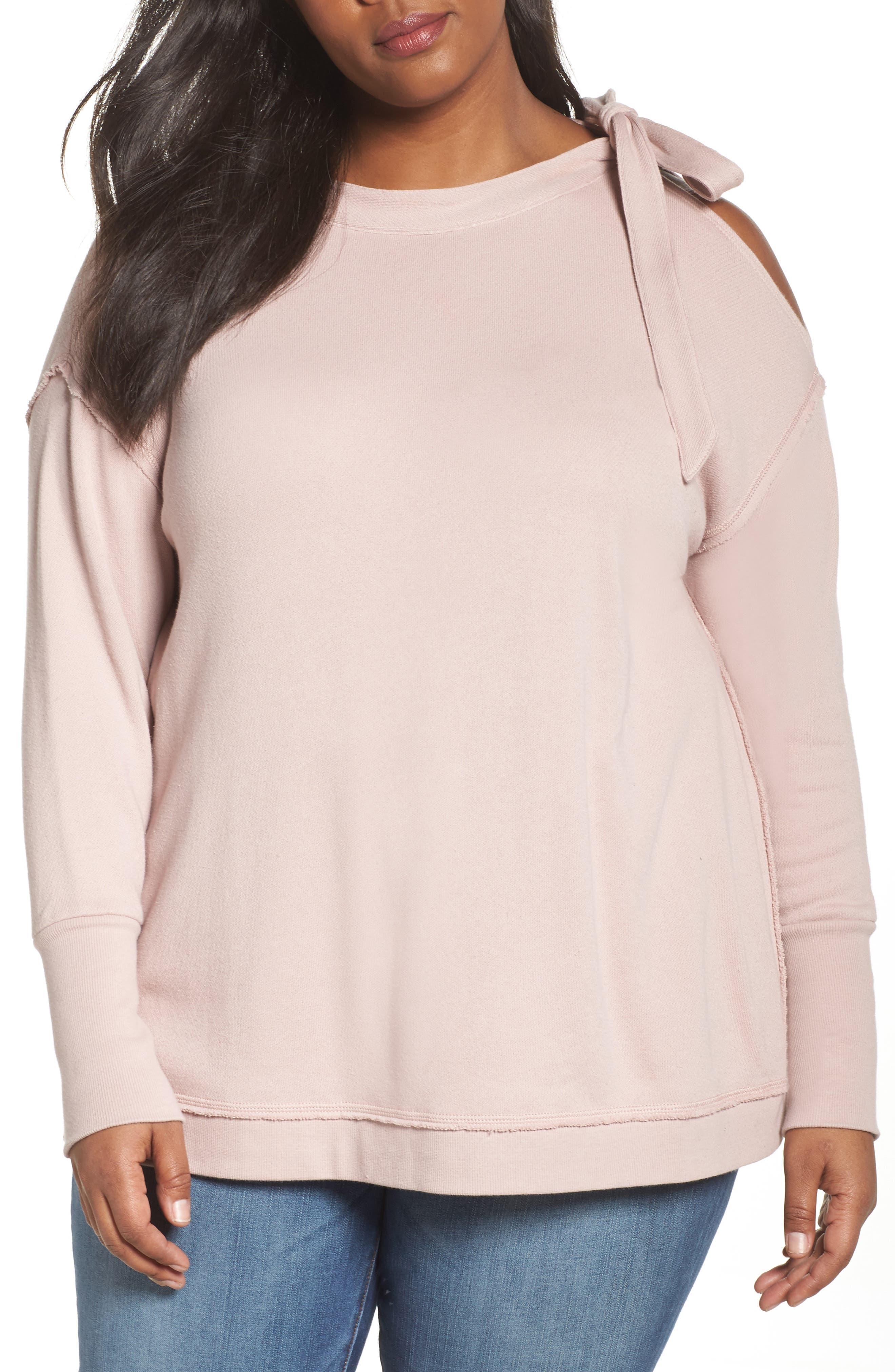 Caslon® Tie Shoulder Sweatshirt