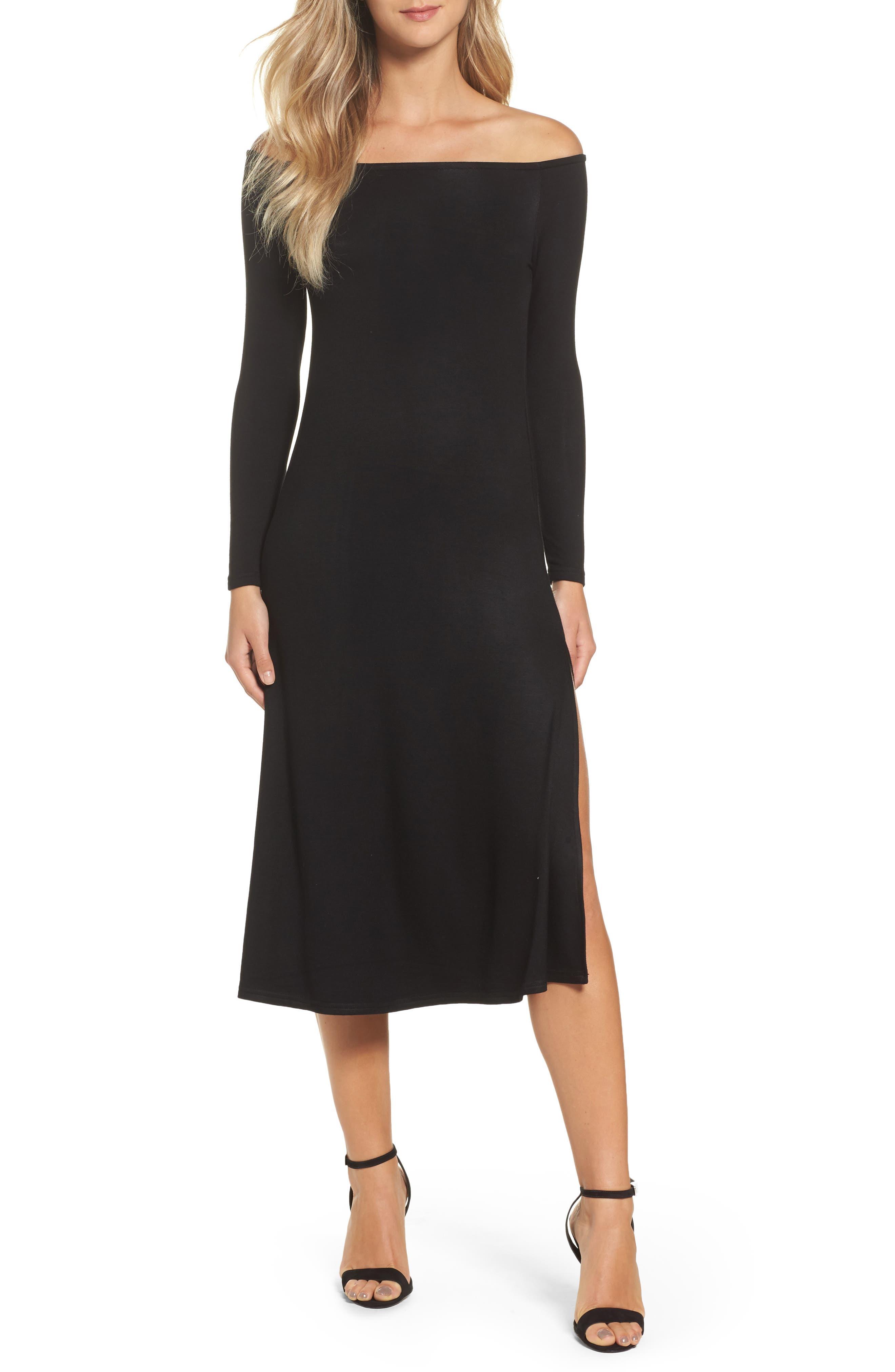 Blair Off the Shoulder A-Line Dress,                         Main,                         color, Black
