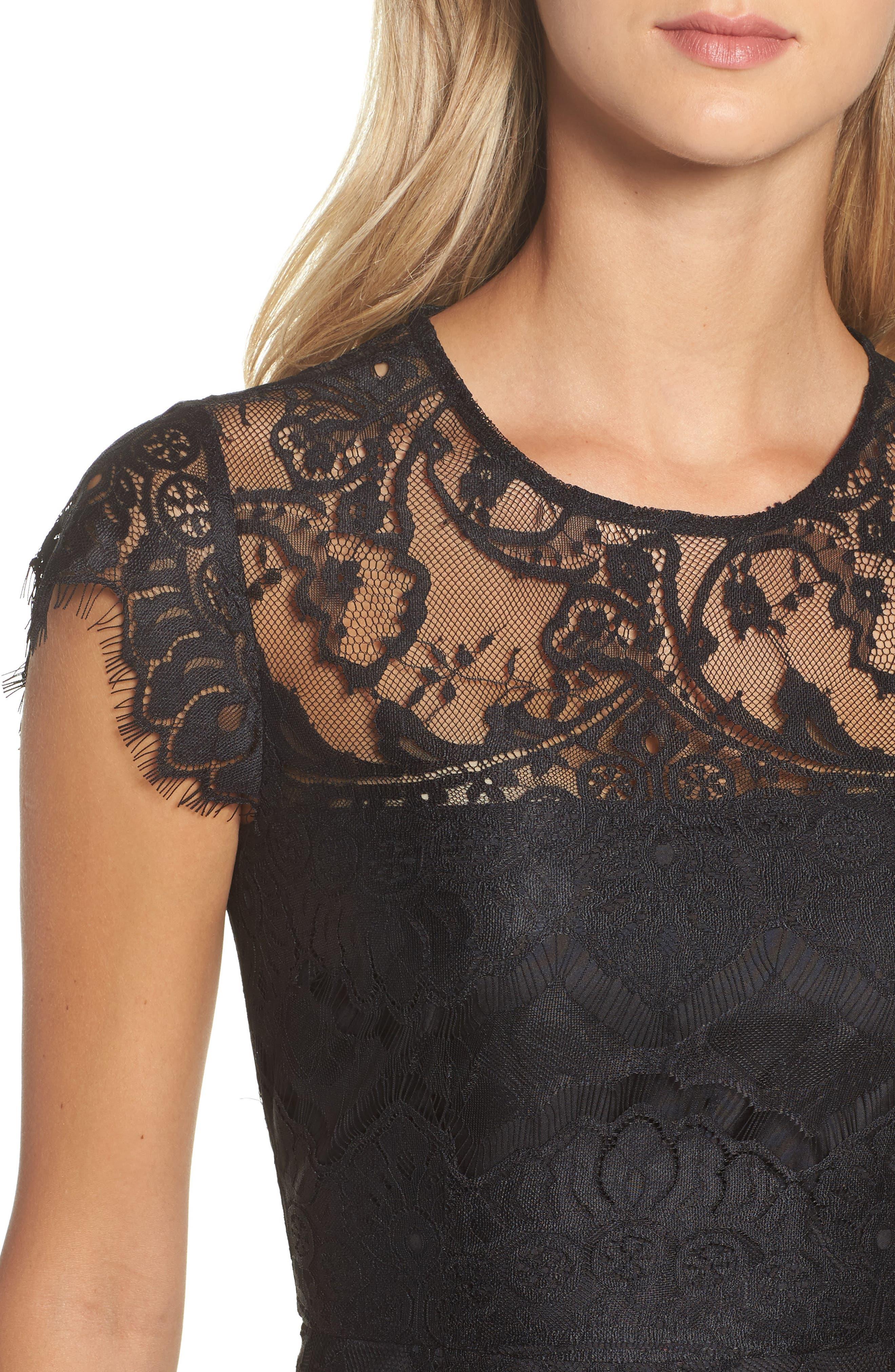 Jayce Lace Sheath Dress,                             Alternate thumbnail 4, color,                             Black