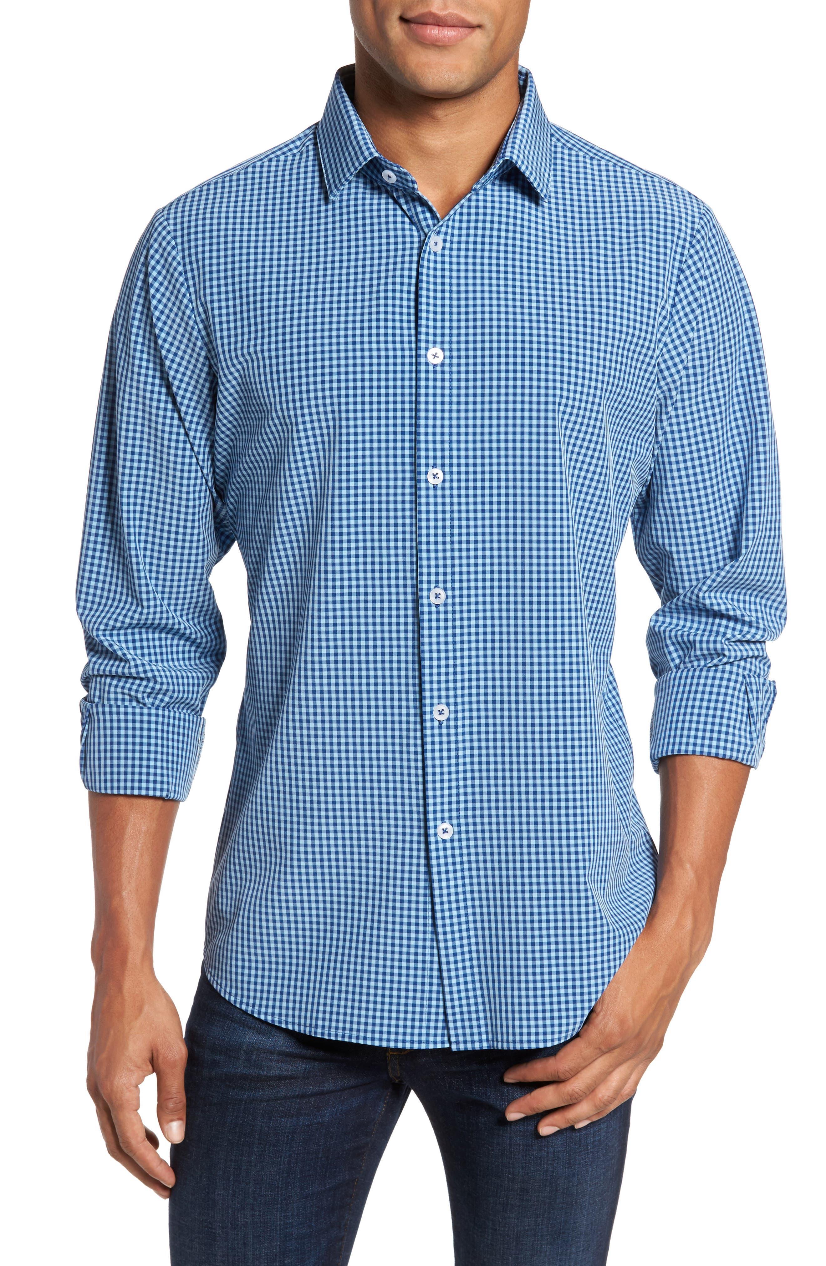 Brighton Blue Check Sport Shirt,                         Main,                         color, Blue