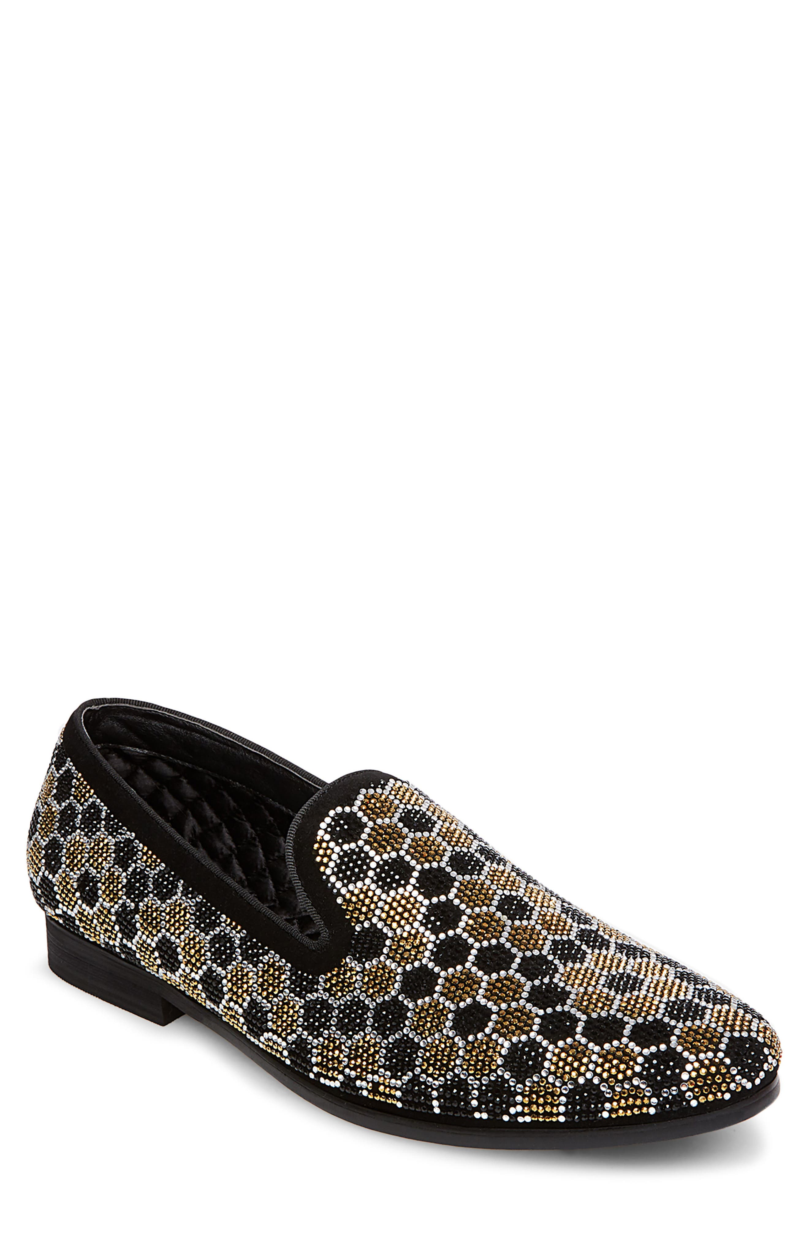 Caspian Studded Venetian Loafer,                             Main thumbnail 1, color,                             Black/ Gold