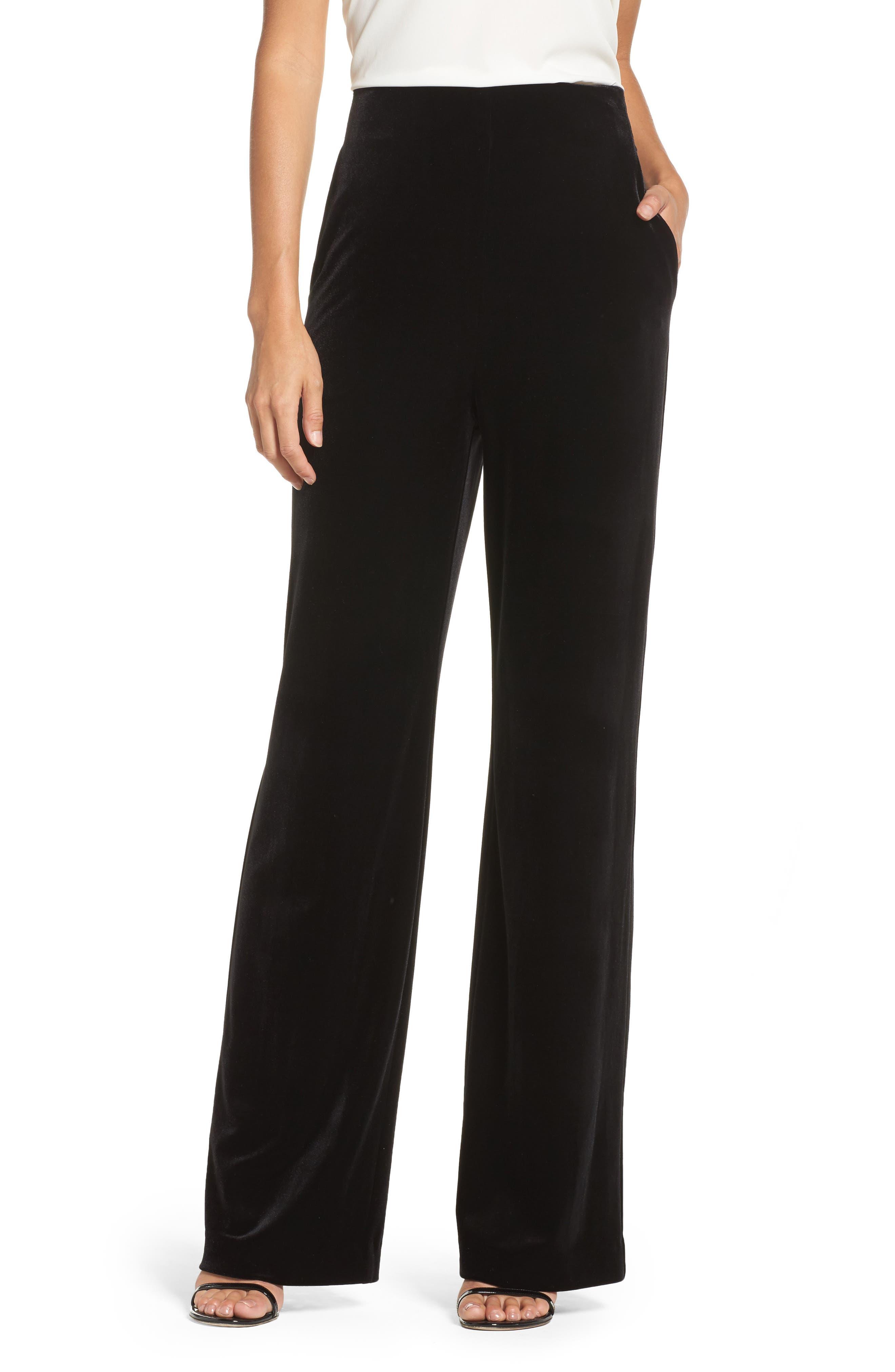 Velvet Trousers,                             Main thumbnail 1, color,                             Black