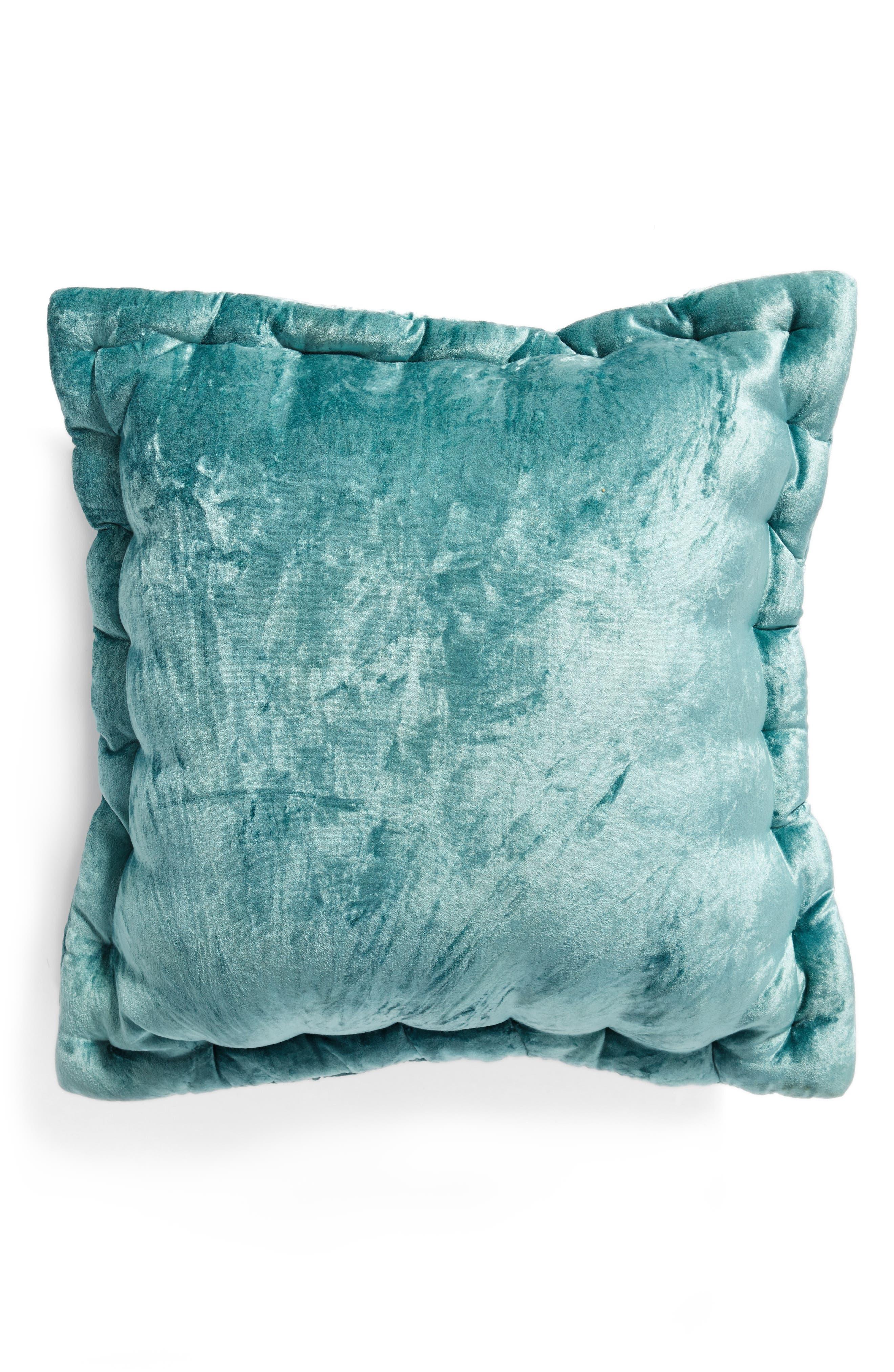 Velvet Accent Pillow,                             Alternate thumbnail 3, color,                             Teal Titanic