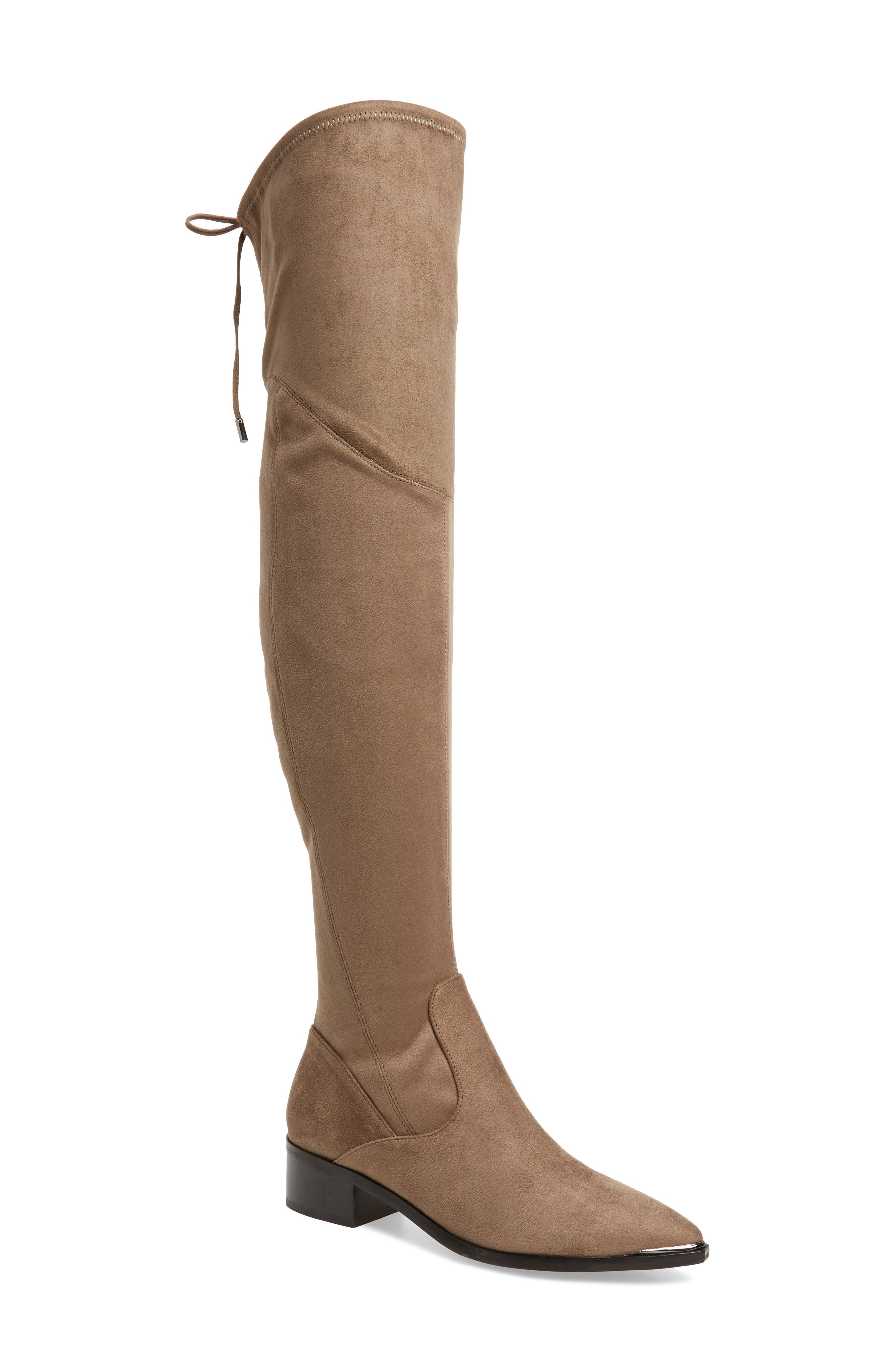 Yuna Over the Knee Boot,                             Main thumbnail 1, color,                             Taupe Faux Suede