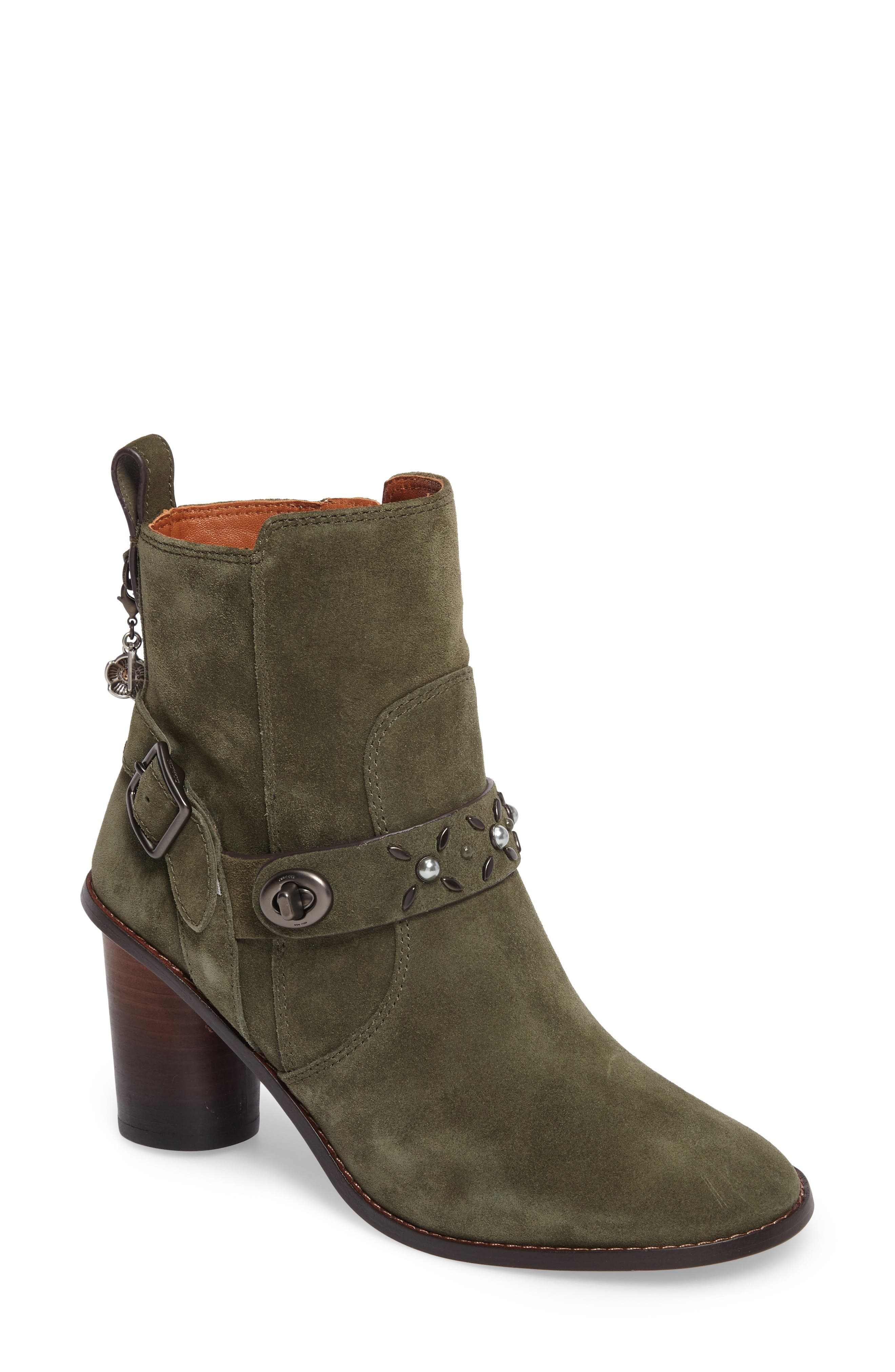 Studded Western Boot,                             Main thumbnail 1, color,                             Olive Suede