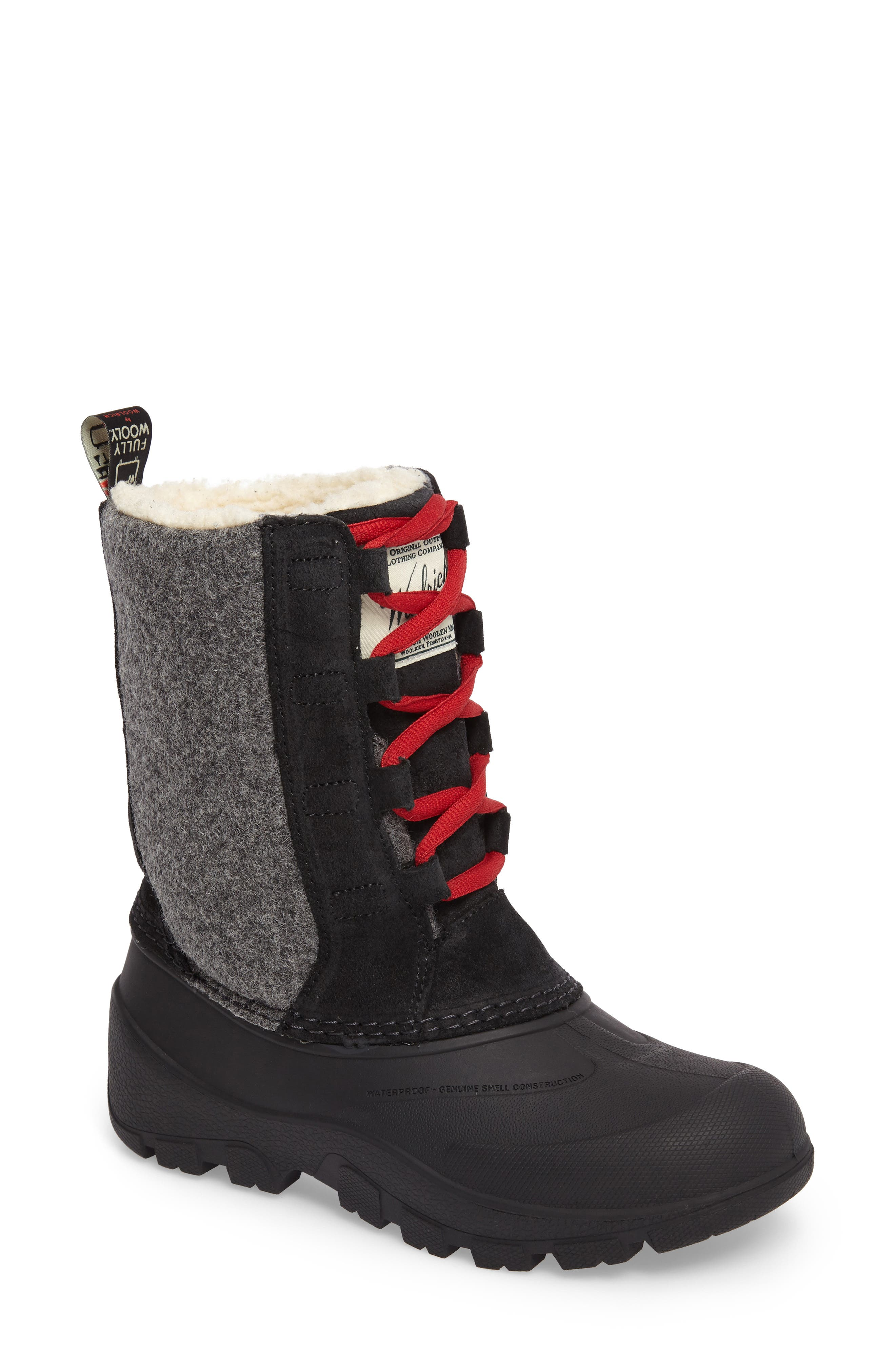Fully Wooly Tundracat Waterproof Insulated Winter Boot,                             Main thumbnail 1, color,                             Black Leather