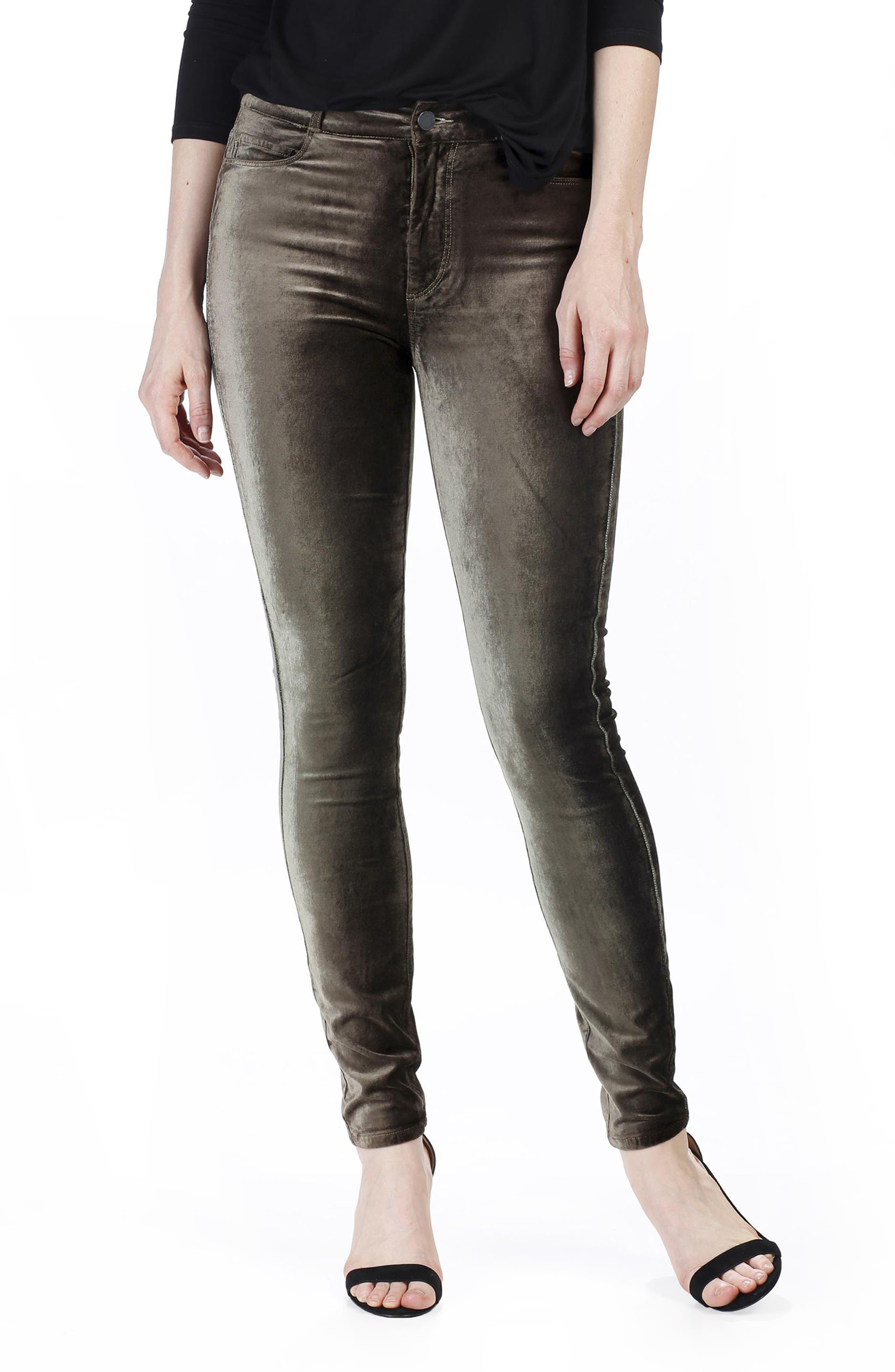 PAIGE Hoxton Velvet Ankle Skinny Jeans