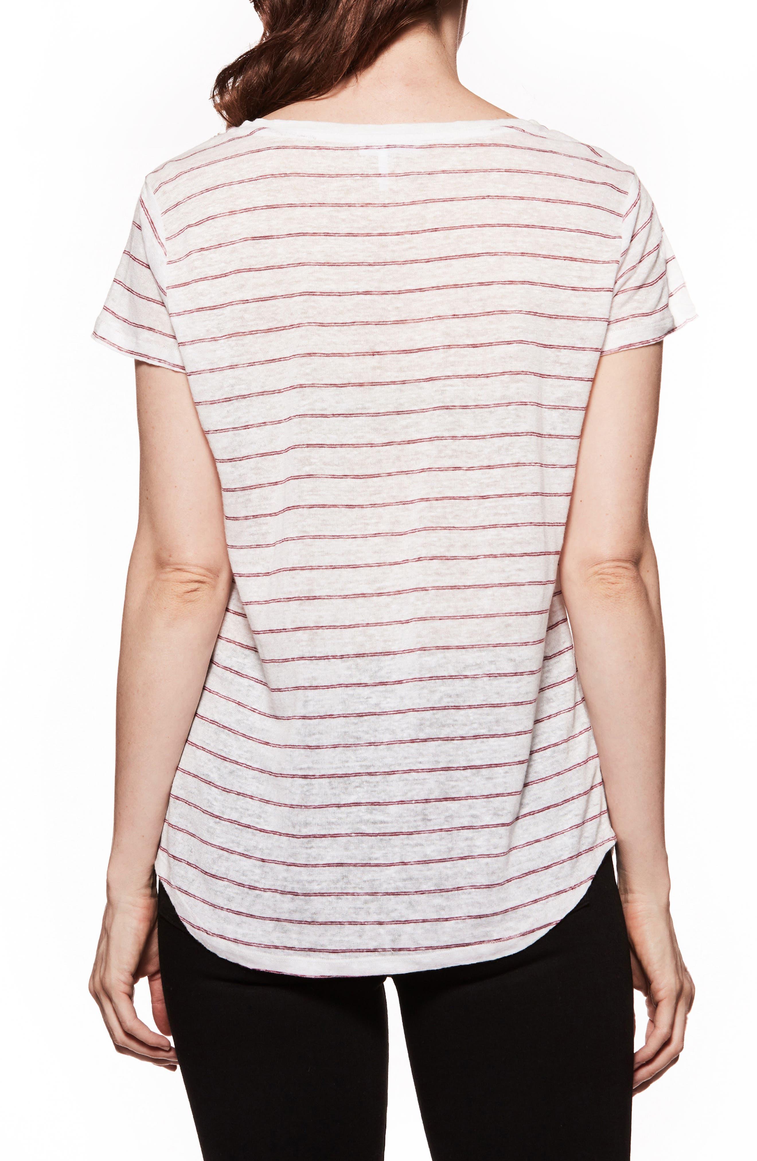 Lynnea Stripe Linen Tee,                             Alternate thumbnail 2, color,                             White/ Beaujolais Stripe
