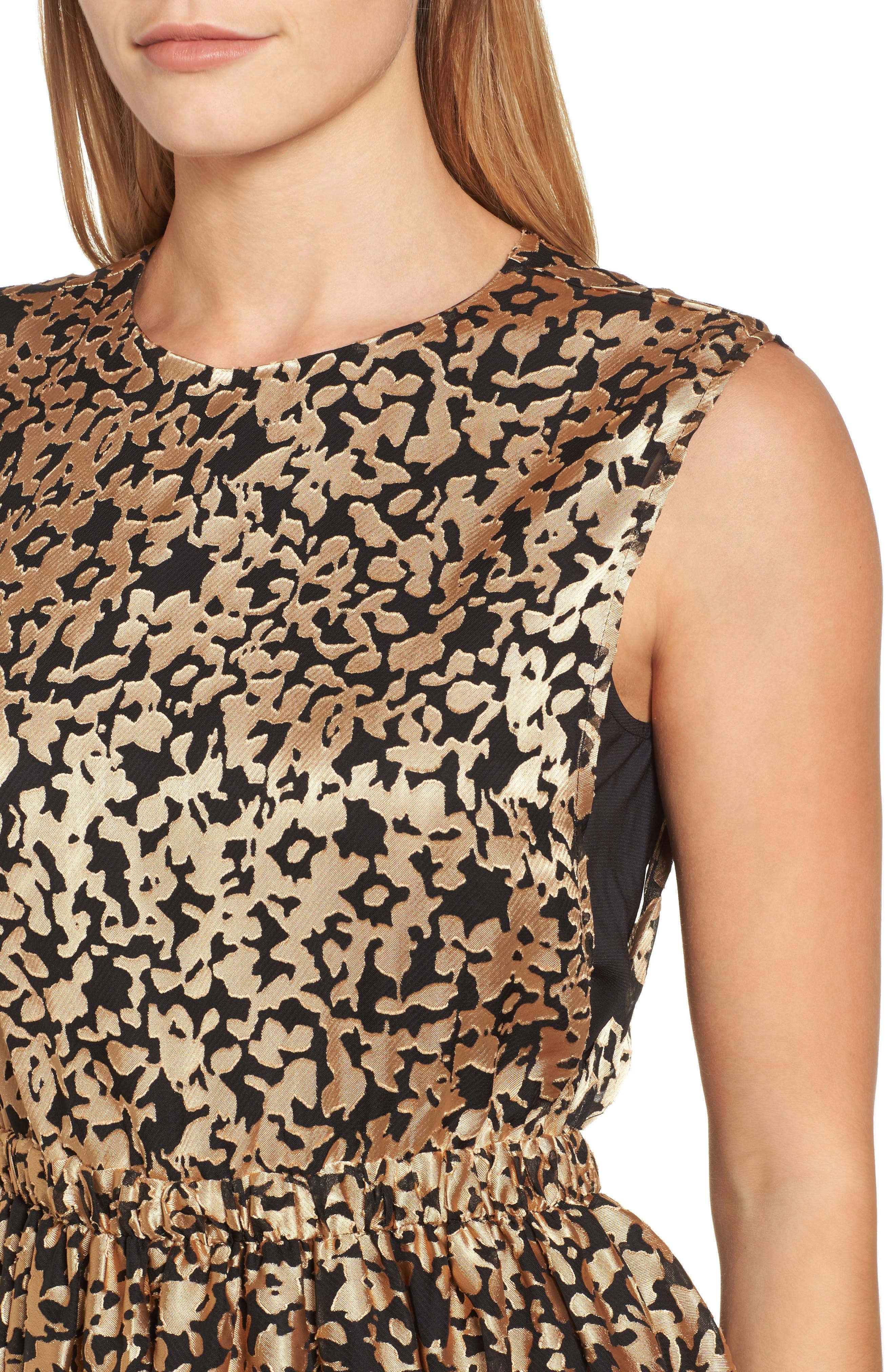 Kells Metallic Fit & Flare Dress,                             Alternate thumbnail 4, color,                             Gold/ Black