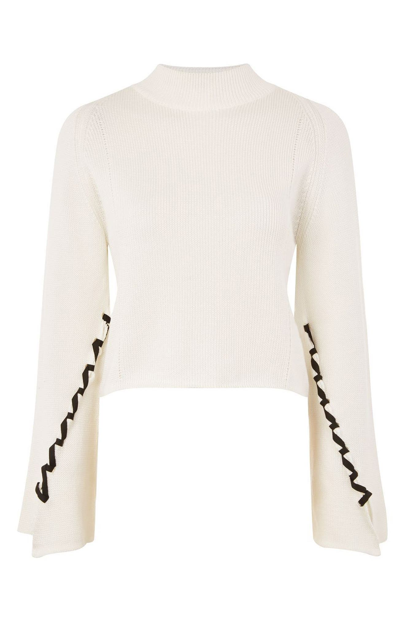 Lace-Up Sleeve Sweater,                             Alternate thumbnail 4, color,                             Cream