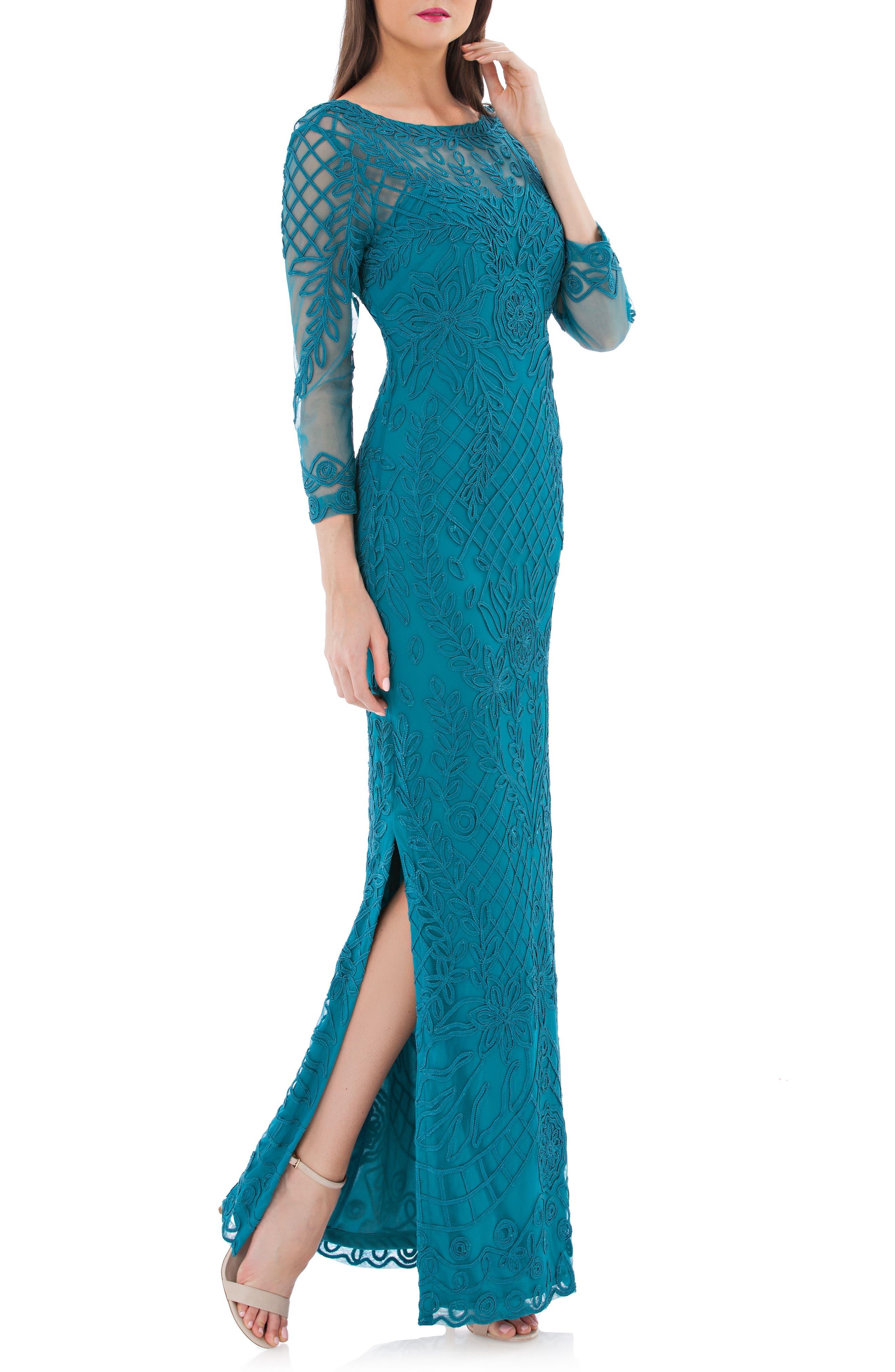 Soutache Illusion Gown,                         Main,                         color, Teal