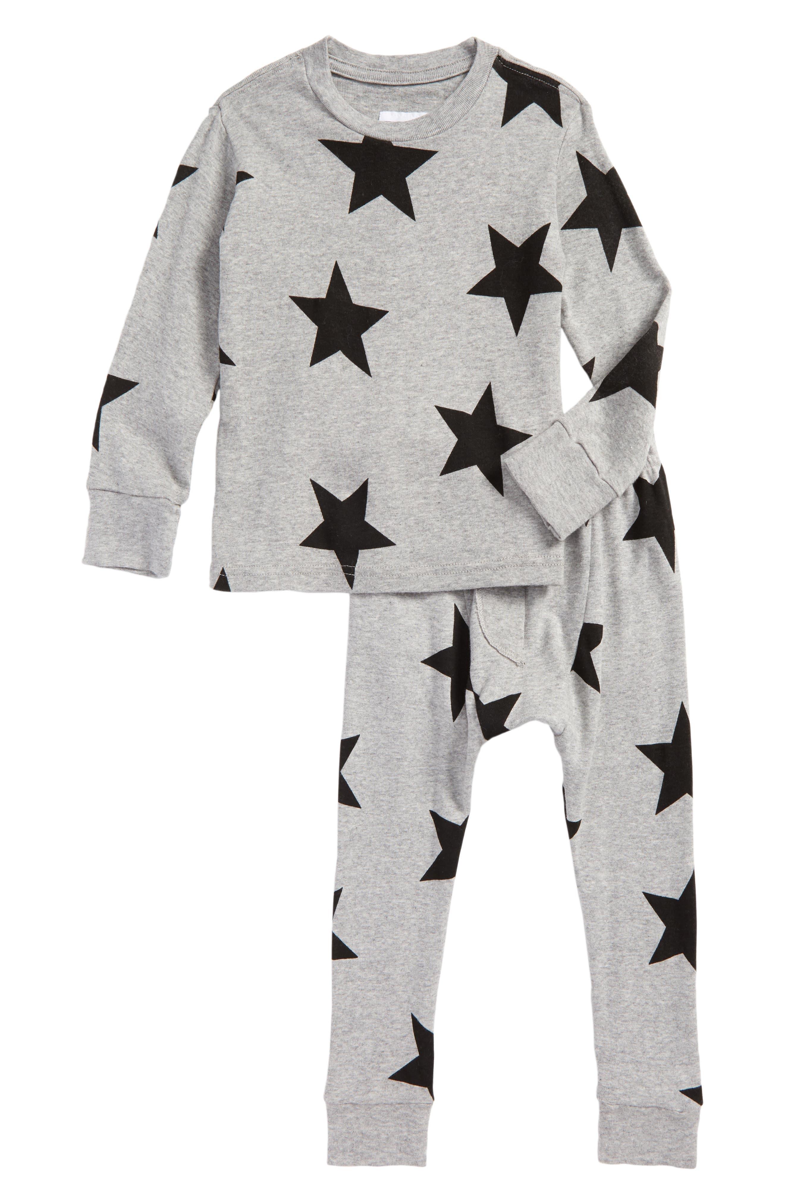 Star Print T-Shirt & Pants Set,                         Main,                         color, Heather Grey