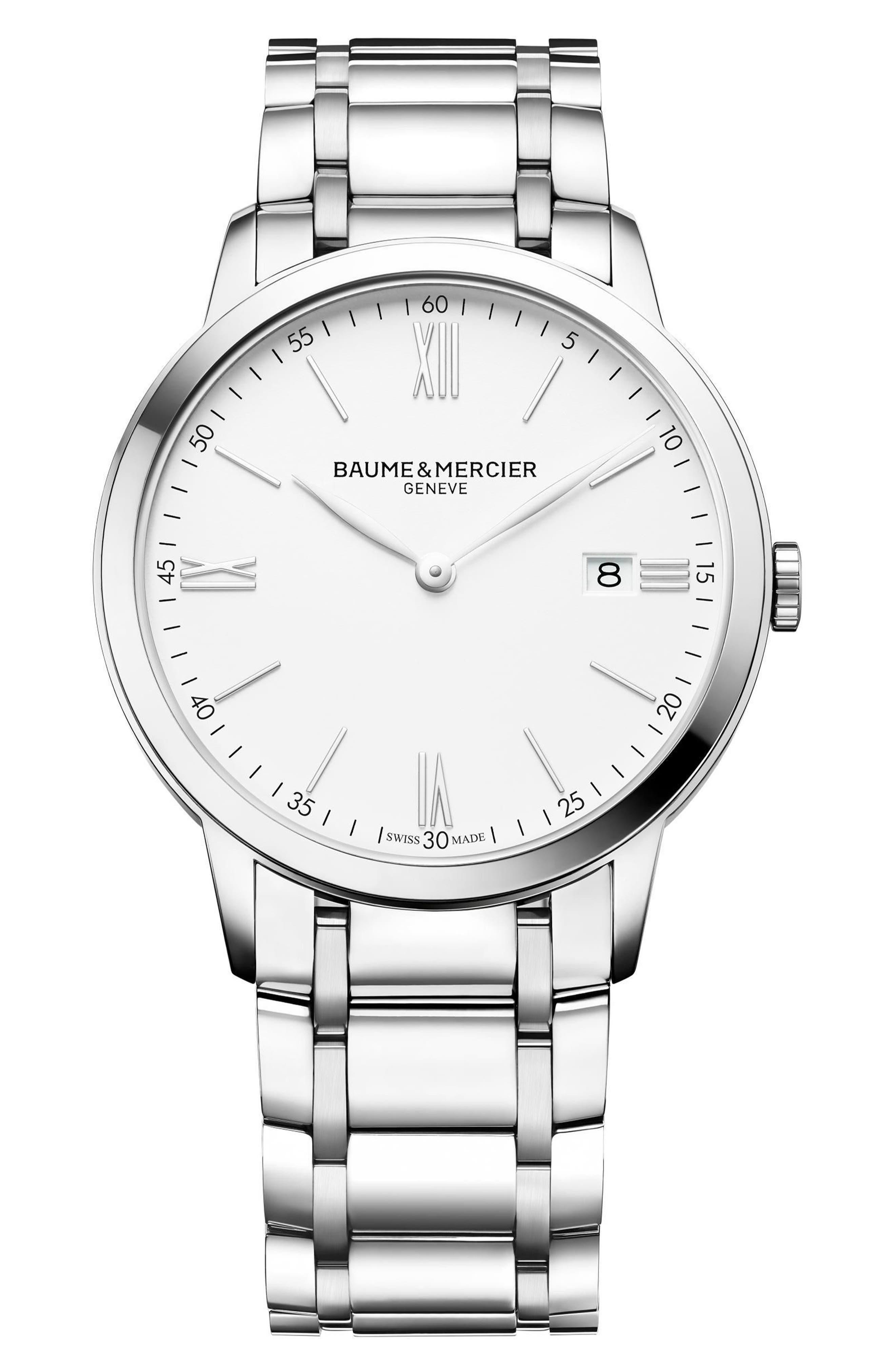 Baume & Mercier Classima Bracelet Watch, 40mm,                             Main thumbnail 1, color,                             Silver/ Silver