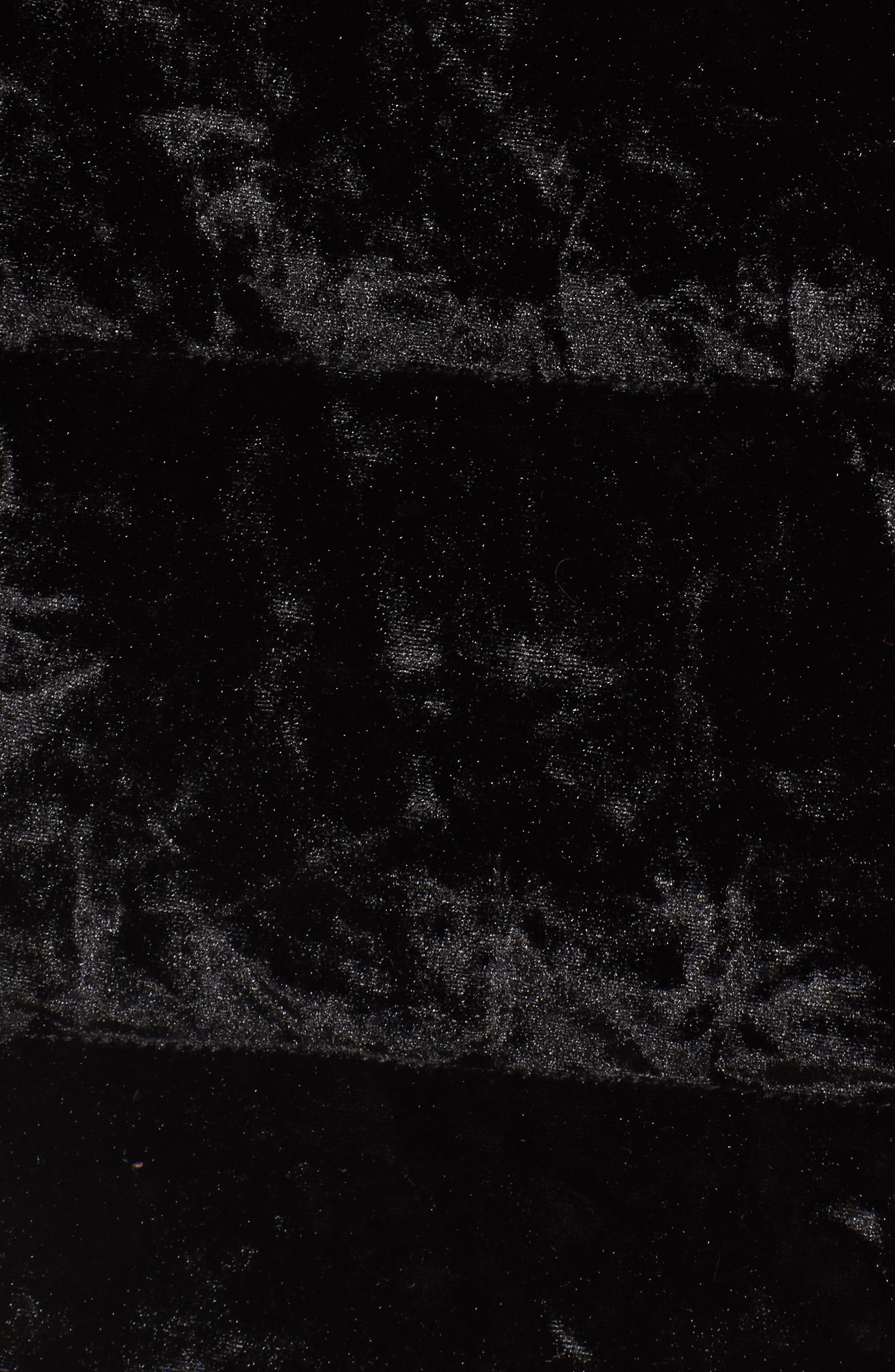 Velvet Down Jacket with Genuine Fox Fur,                             Alternate thumbnail 5, color,                             Black