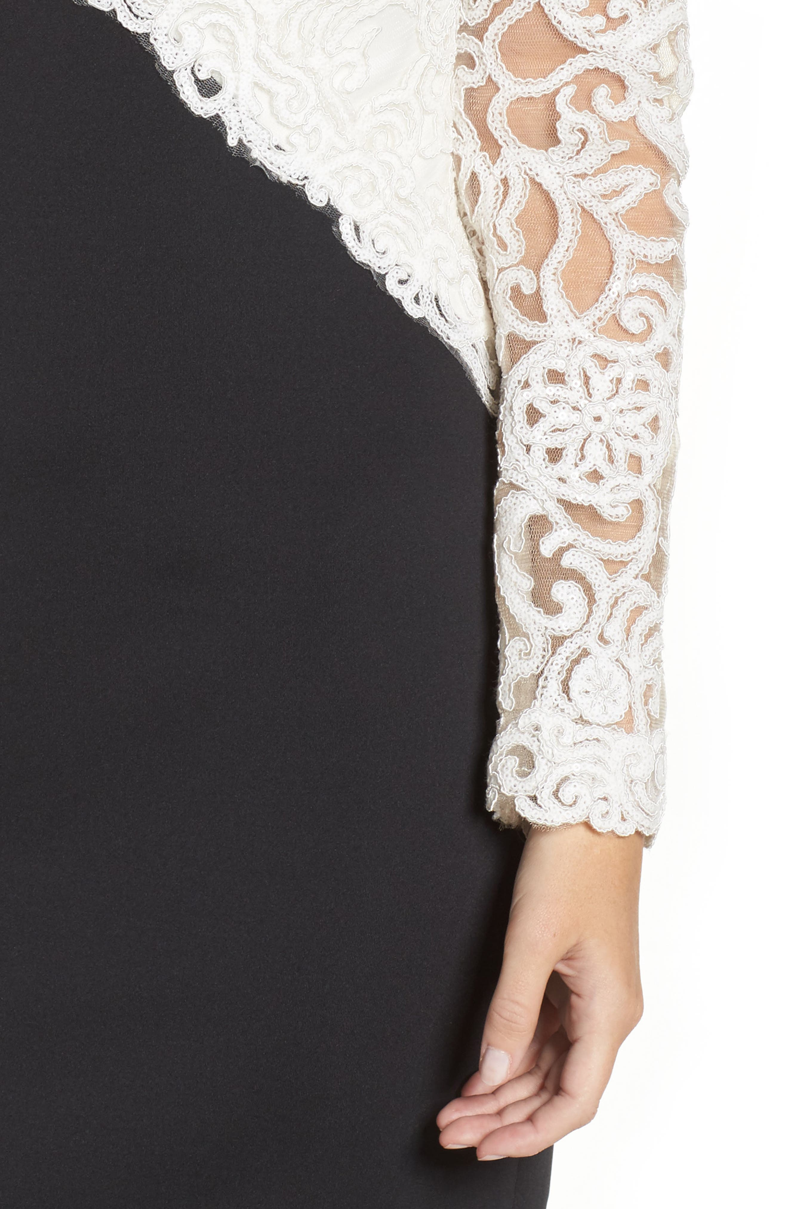 Soutache Off the Shoulder Sheath Dress,                             Alternate thumbnail 4, color,                             Ivory/ Black