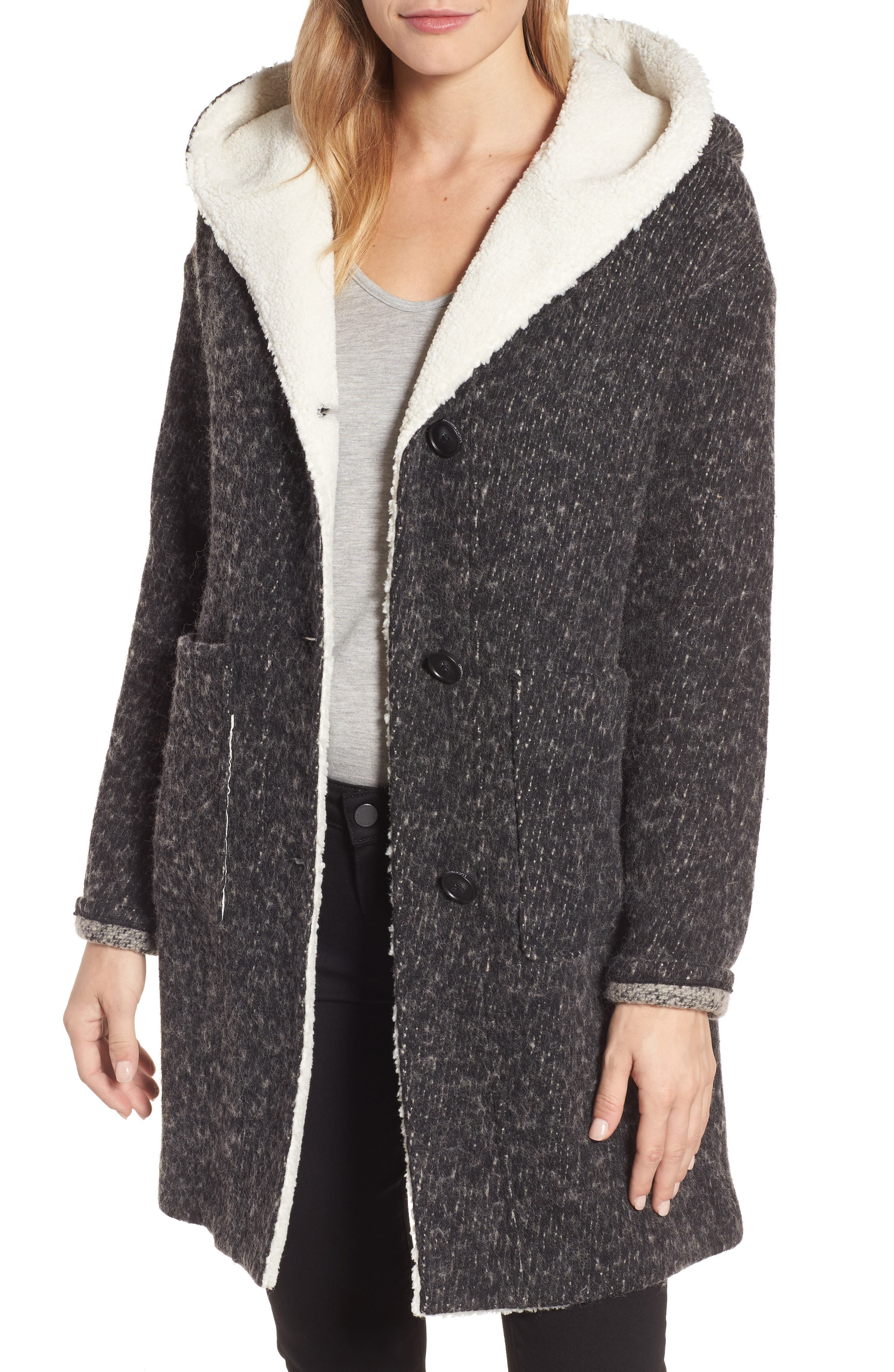Hooded Coat,                         Main,                         color, Medium Grey
