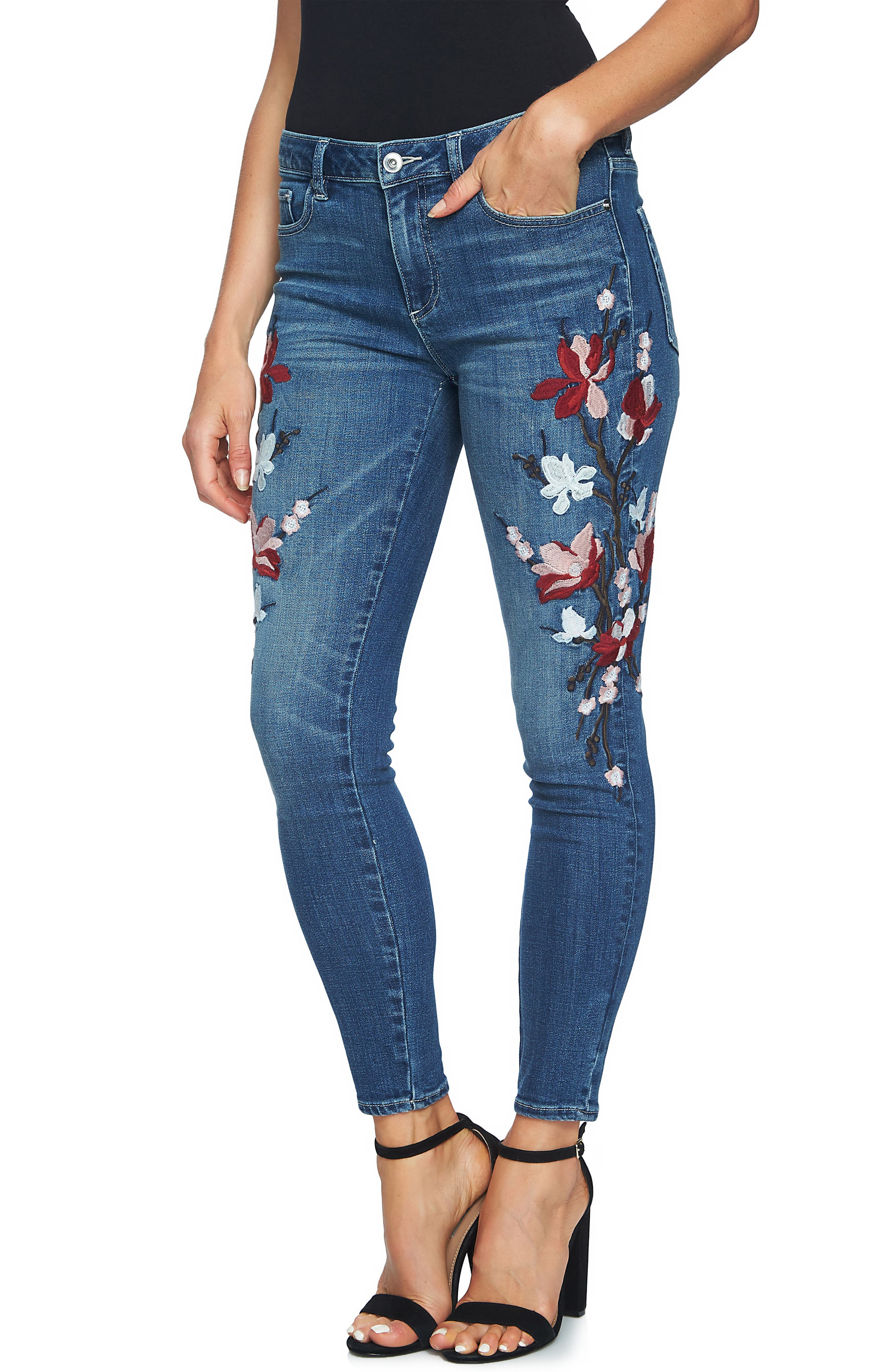 Main Image - CeCe Floral Embroidered Skinny Jeans
