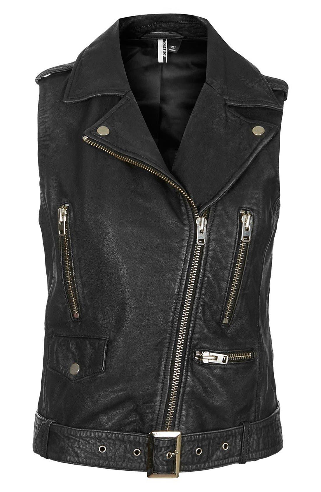 Alternate Image 3  - Topshop 'Sylvia' Leather Biker Vest