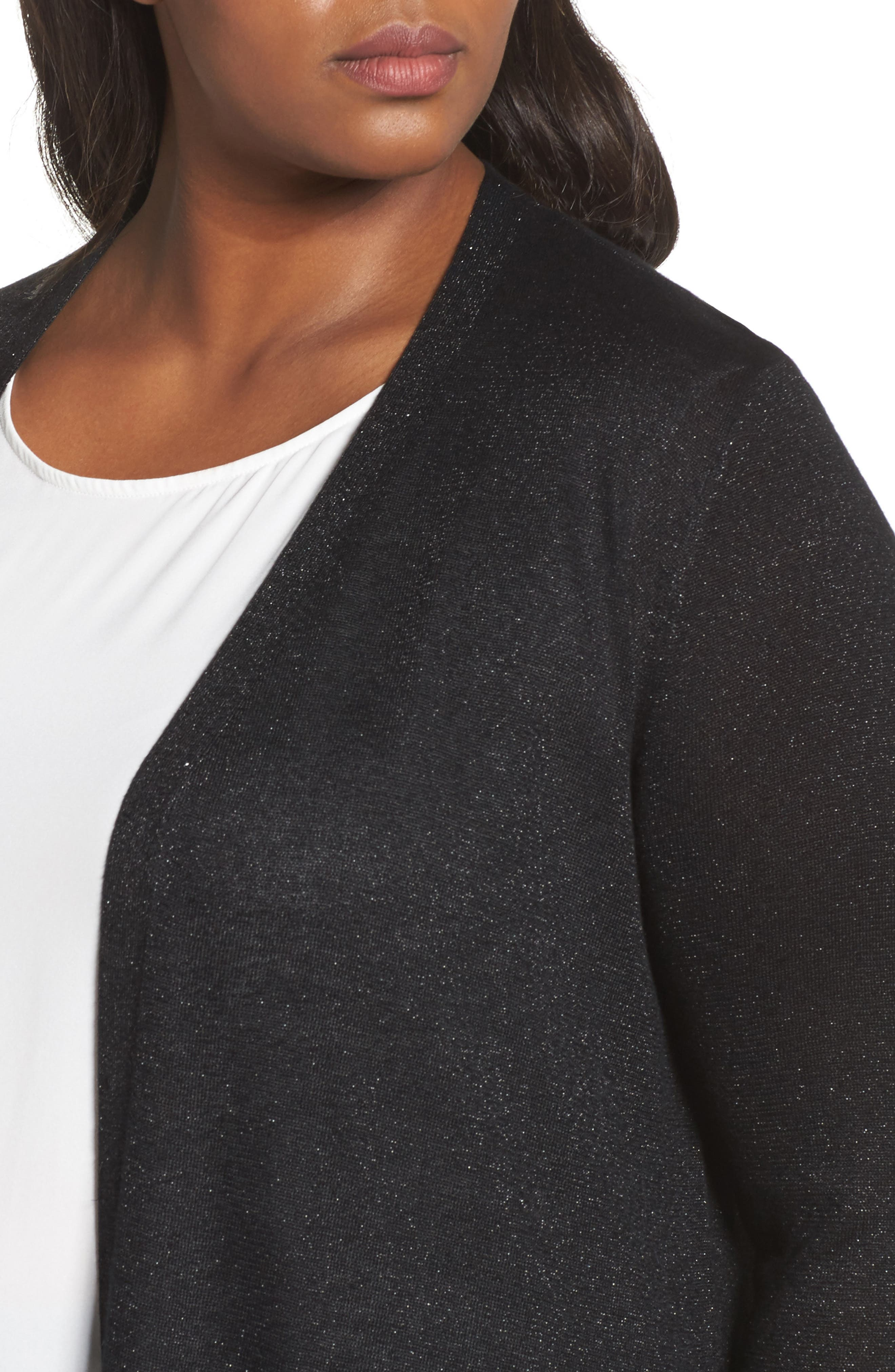 Metallic Maxi Cardigan,                             Alternate thumbnail 4, color,                             Rich Black