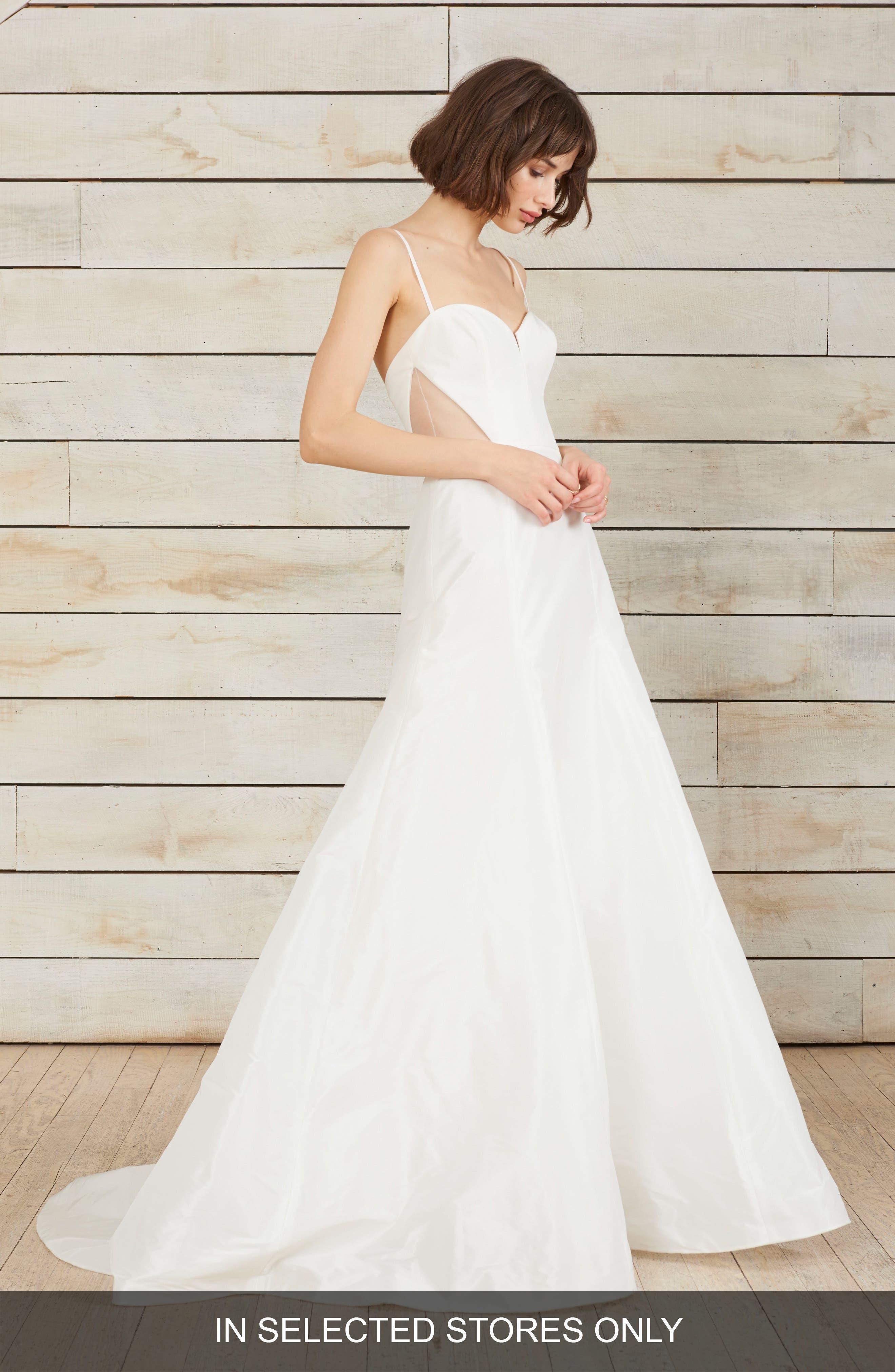 Aria Side Cutout Taffeta Fit & Flare Gown,                         Main,                         color, Silk White