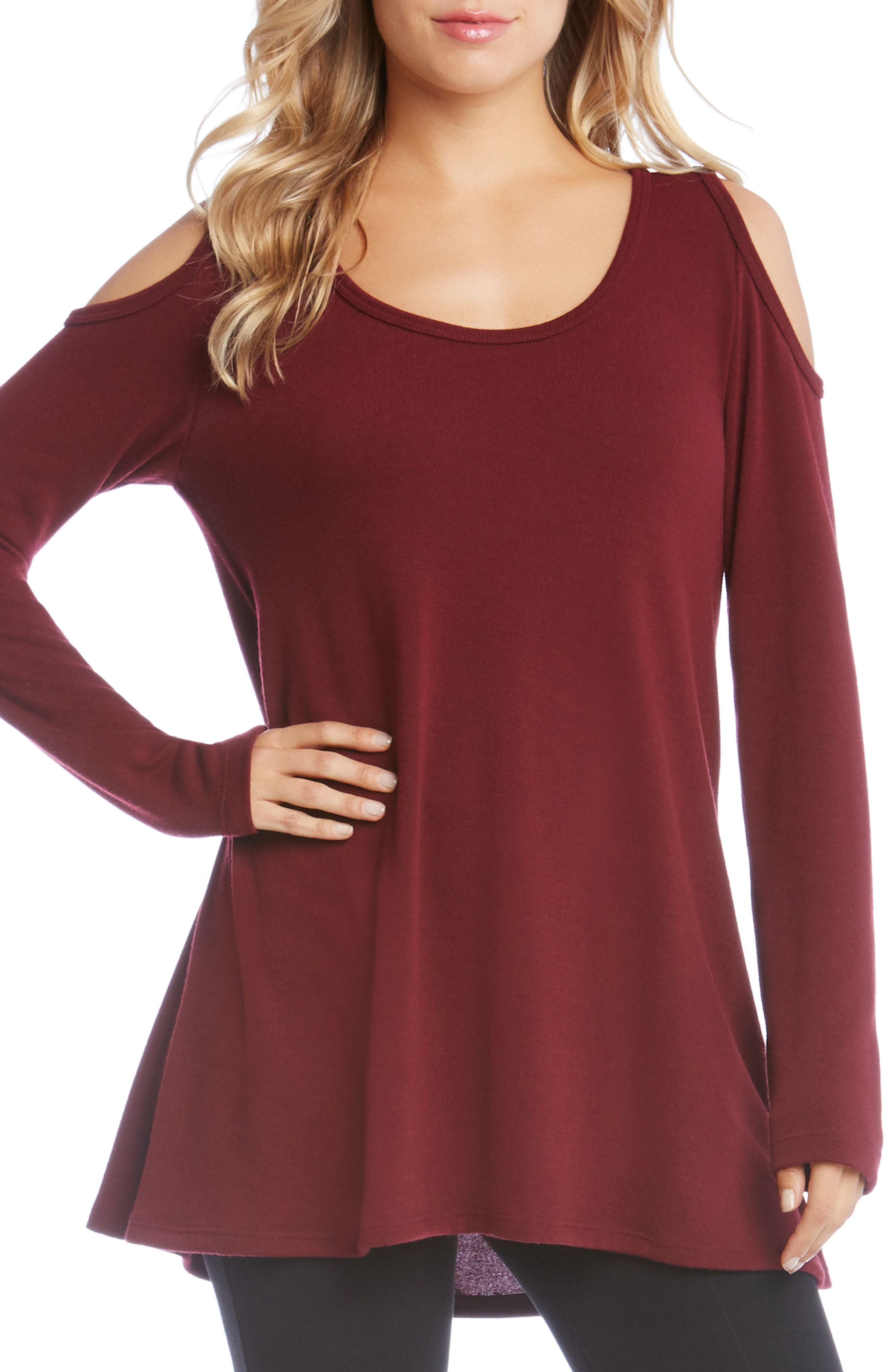 High/Low Cold Shoulder Sweater,                         Main,                         color, Wine