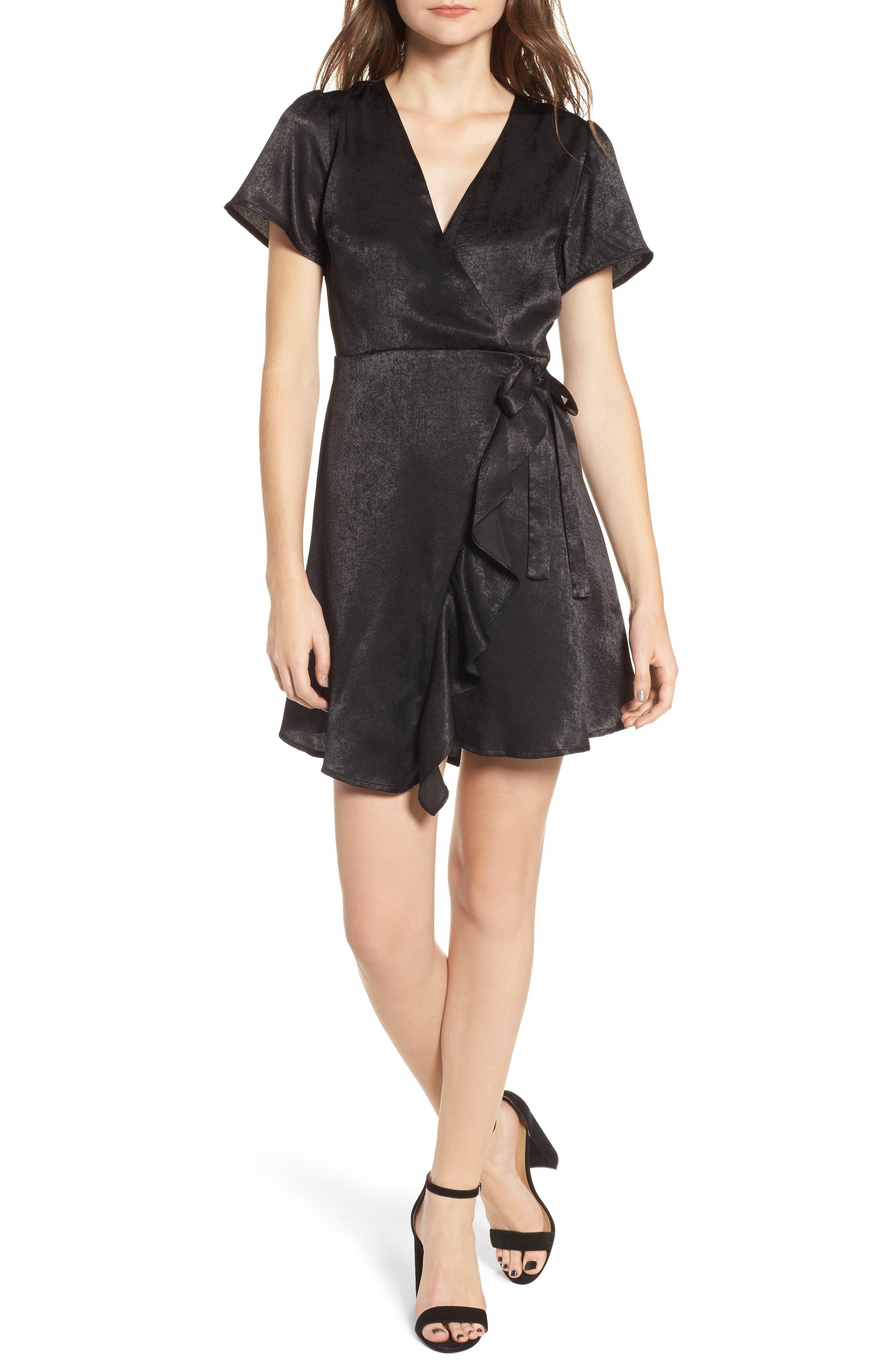 Satin Faux Wrap Dress,                         Main,                         color, Black