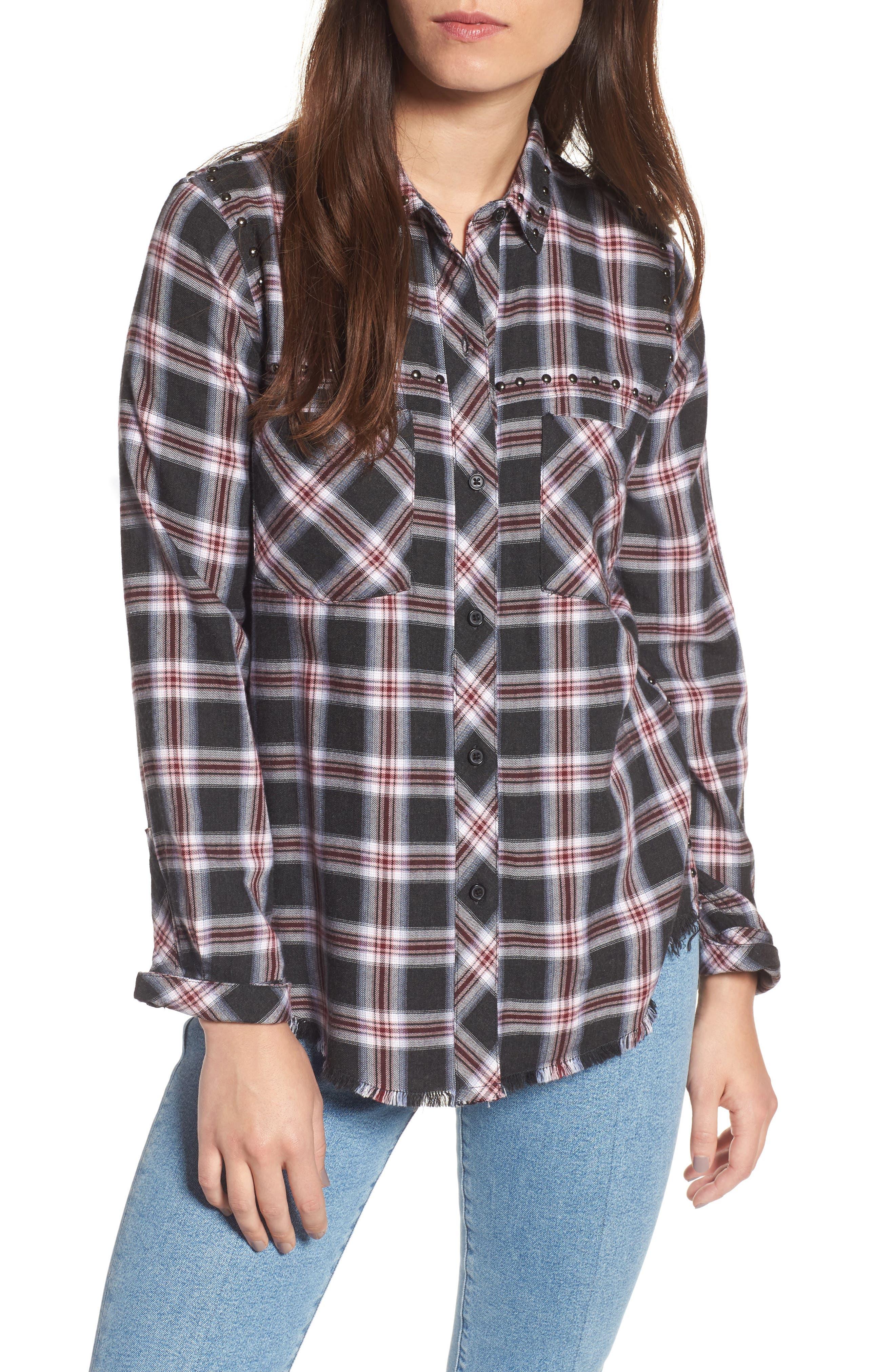 Rex Studded Plaid Shirt,                         Main,                         color, Charcoal/ Berry/ Blush