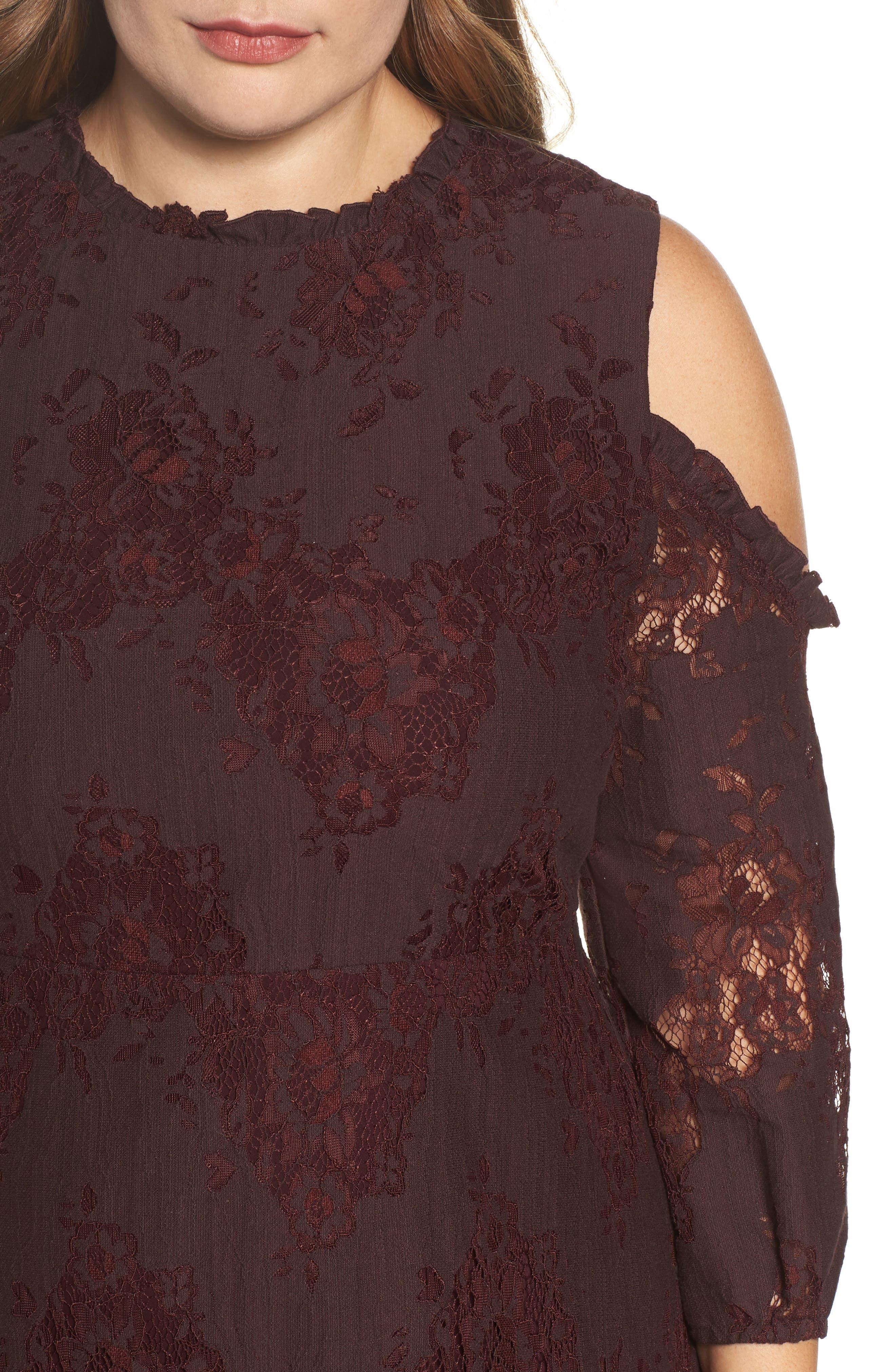 Cold Shoulder Lace A-Line Dress,                             Alternate thumbnail 4, color,                             Burgundy