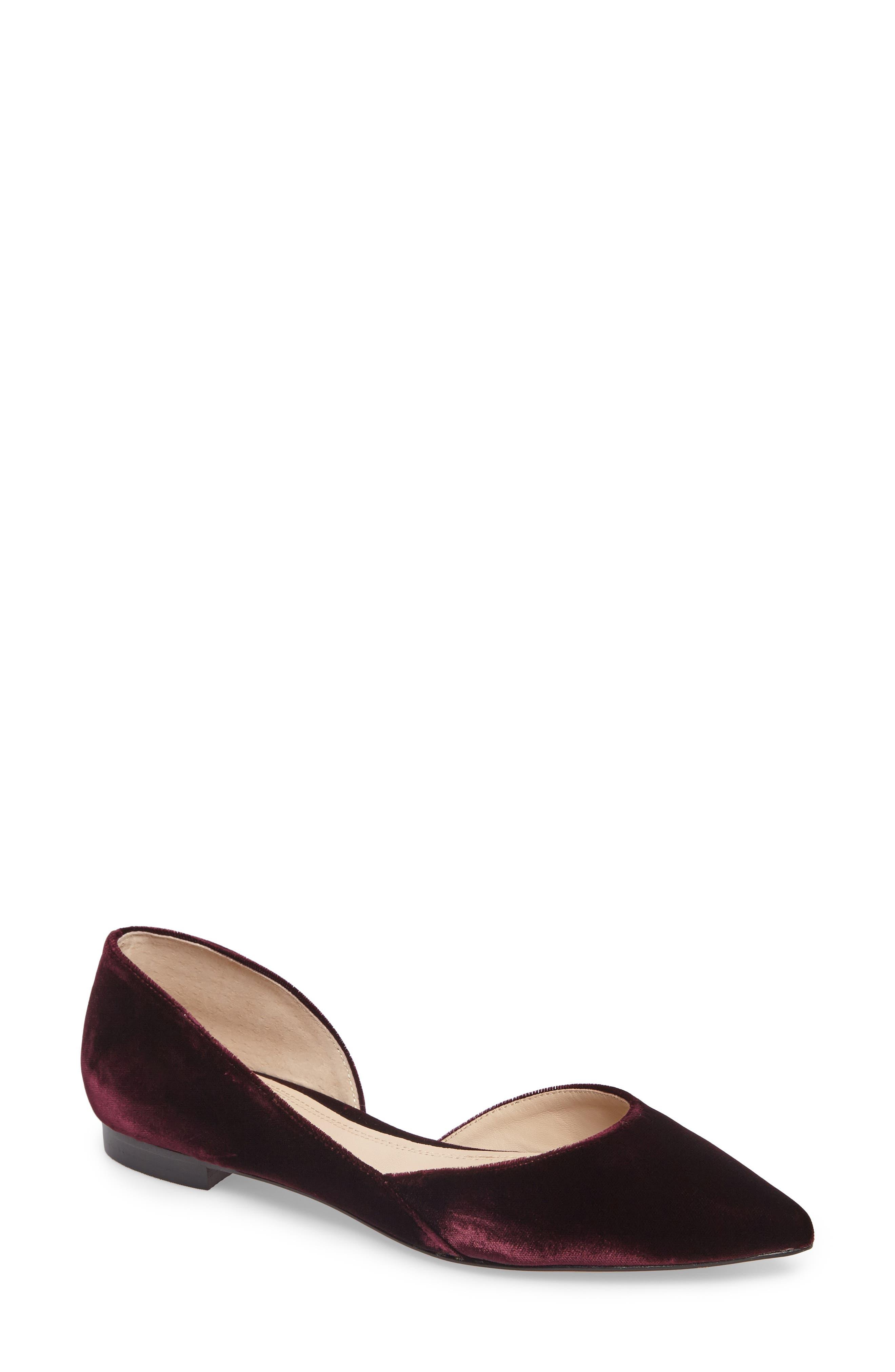 'Sunny' Half d'Orsay Flat,                             Main thumbnail 1, color,                             Burgundy Velvet