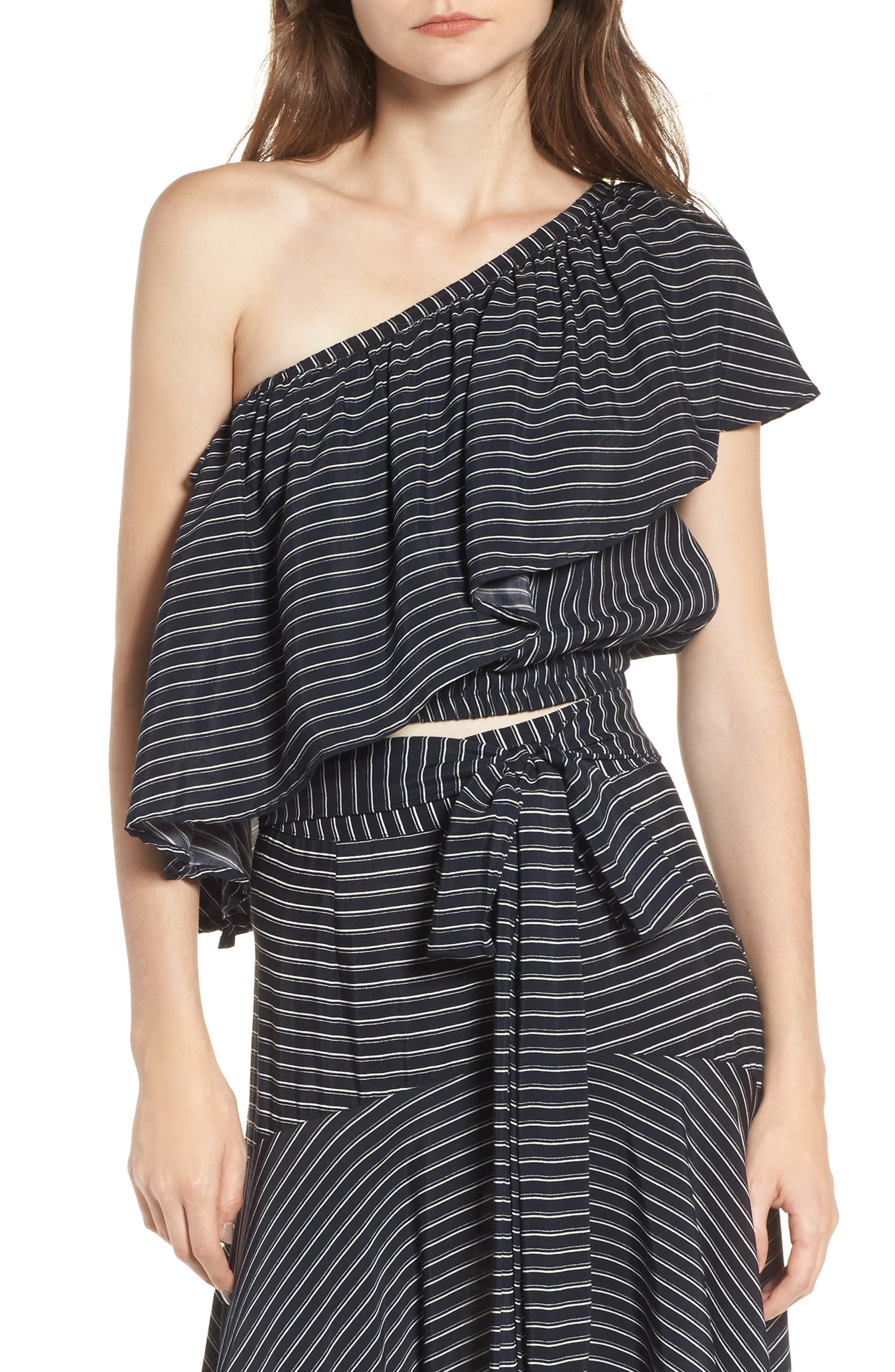 San Andres One Shoulder Ruffle Top,                         Main,                         color, San Cristobal Stripe Print