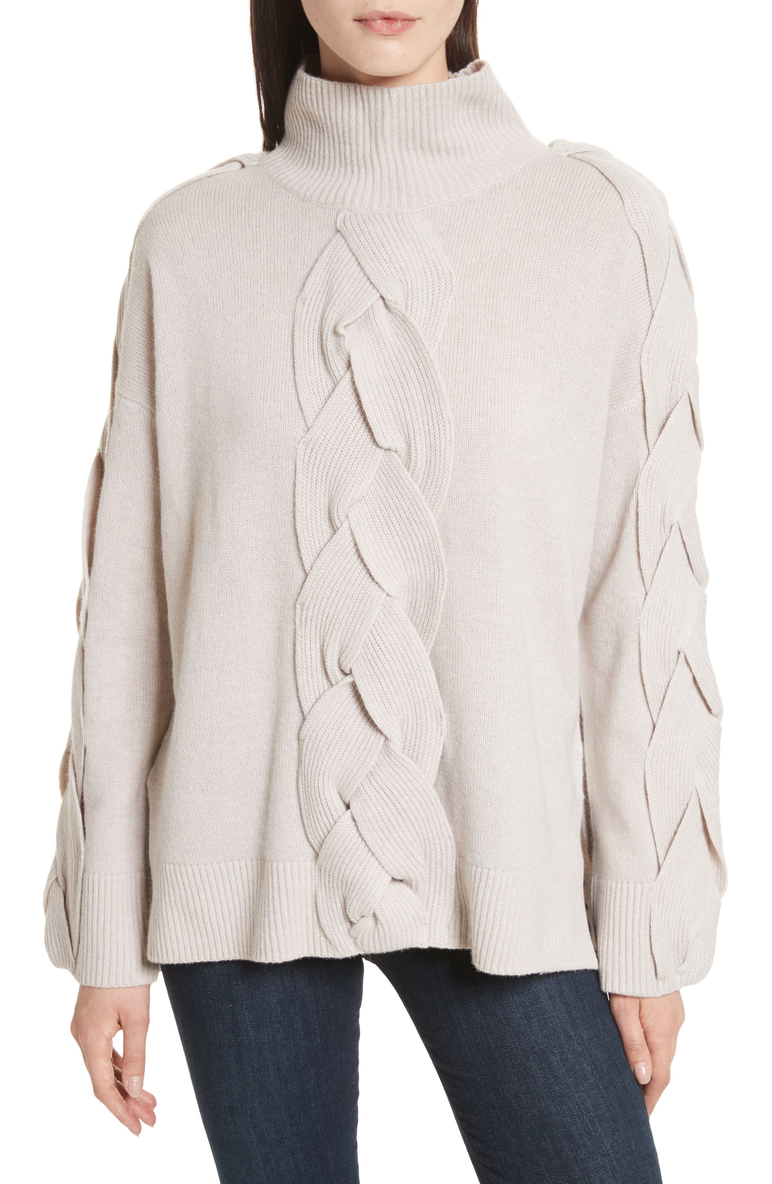 Fisherman Cable Knit Sweater,                         Main,                         color, Oatmeal
