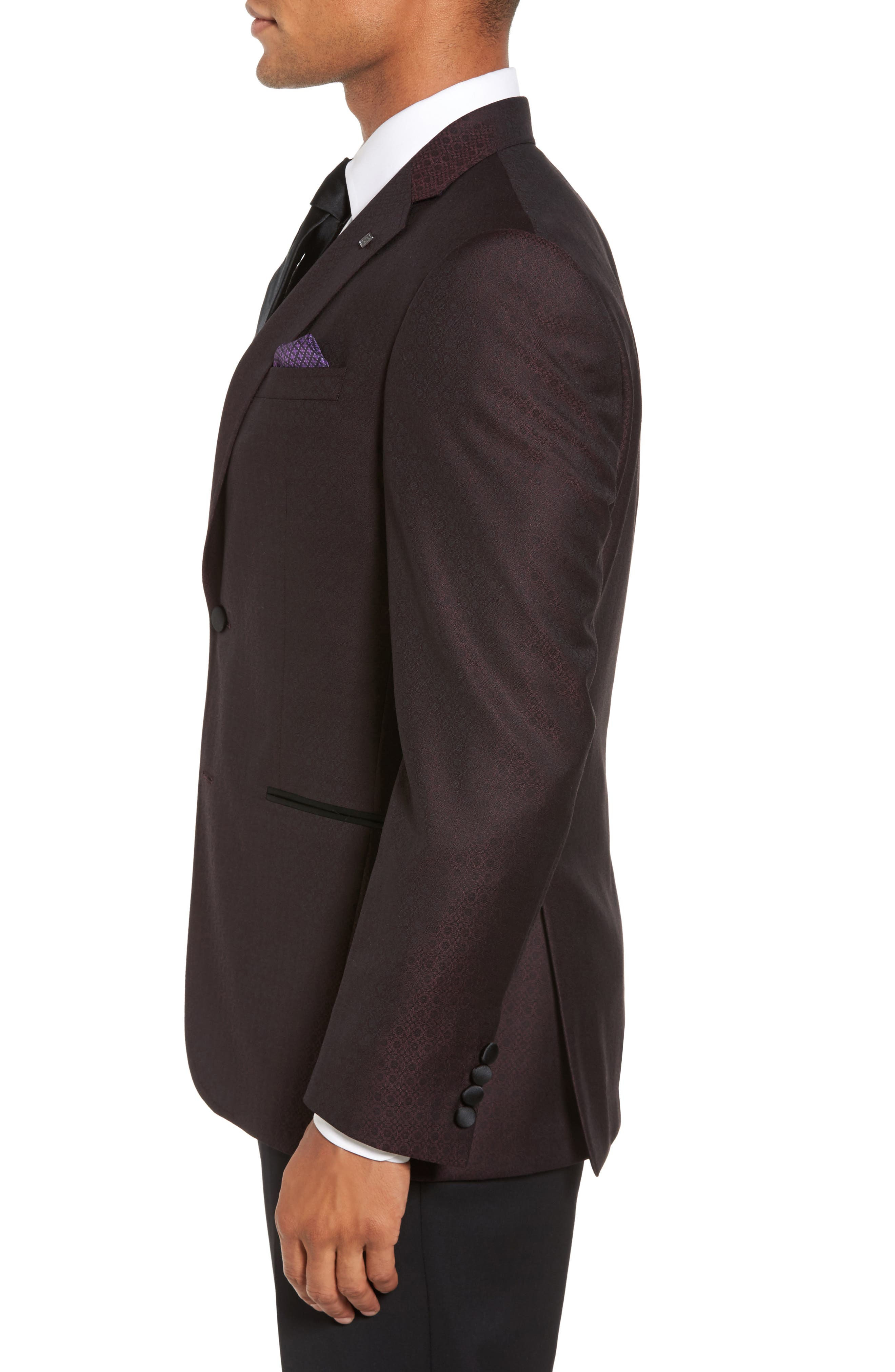 Jack Trim Fit Wool Dinner Jacket,                             Alternate thumbnail 3, color,                             Burgundy
