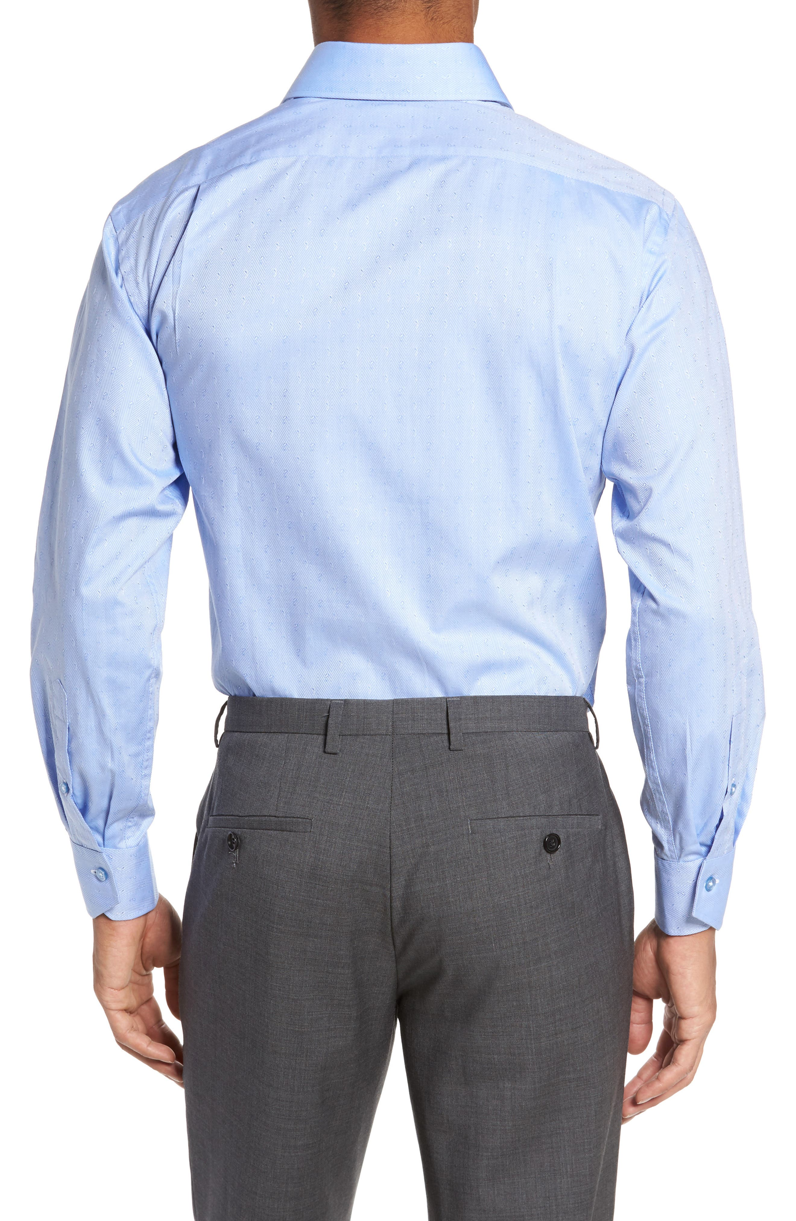 Trim Fit Herringbone Dress Shirt,                             Alternate thumbnail 2, color,                             Light Blue