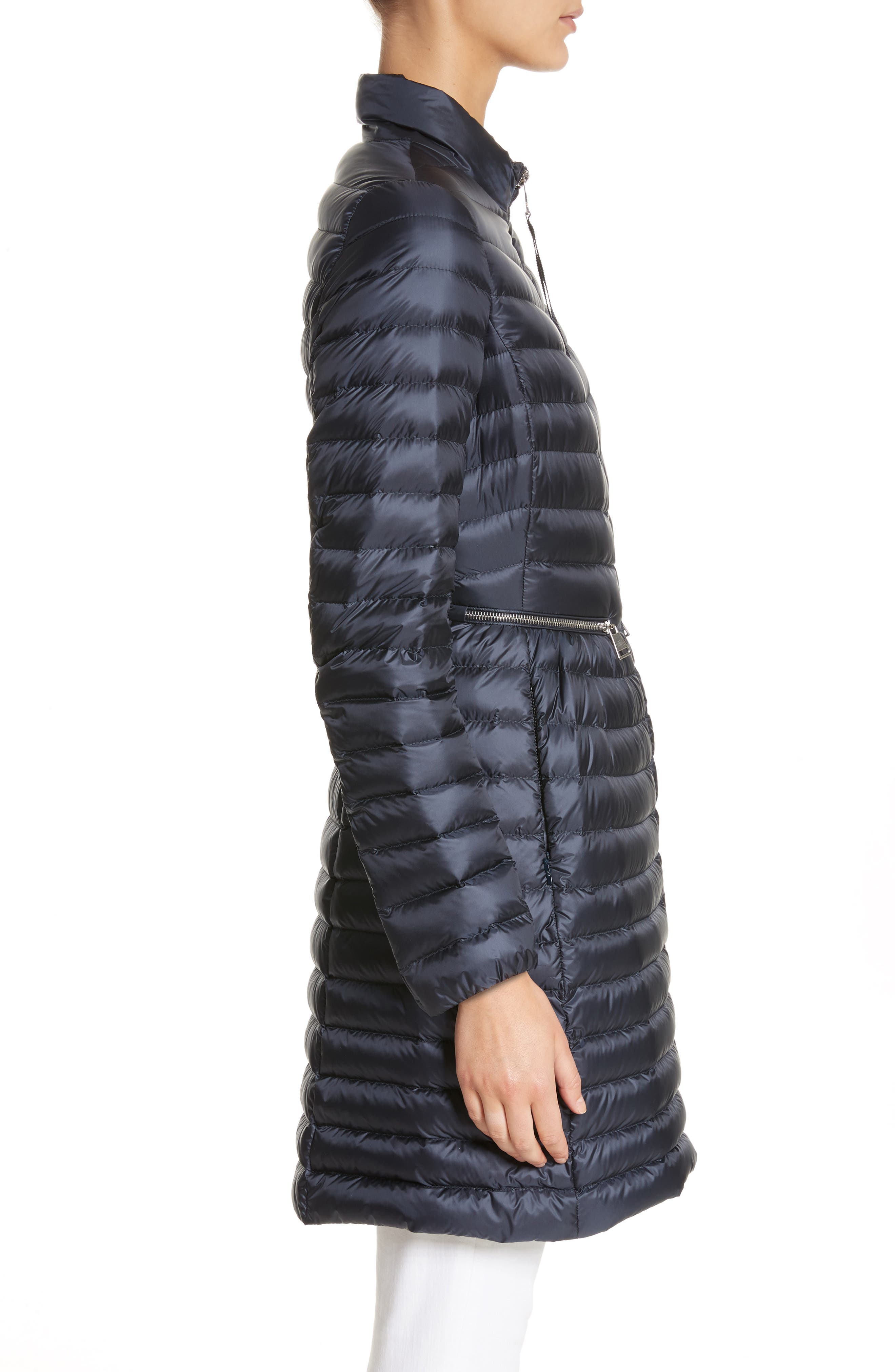 Agatelon Quilted Puffer Coat,                             Alternate thumbnail 3, color,                             Navy