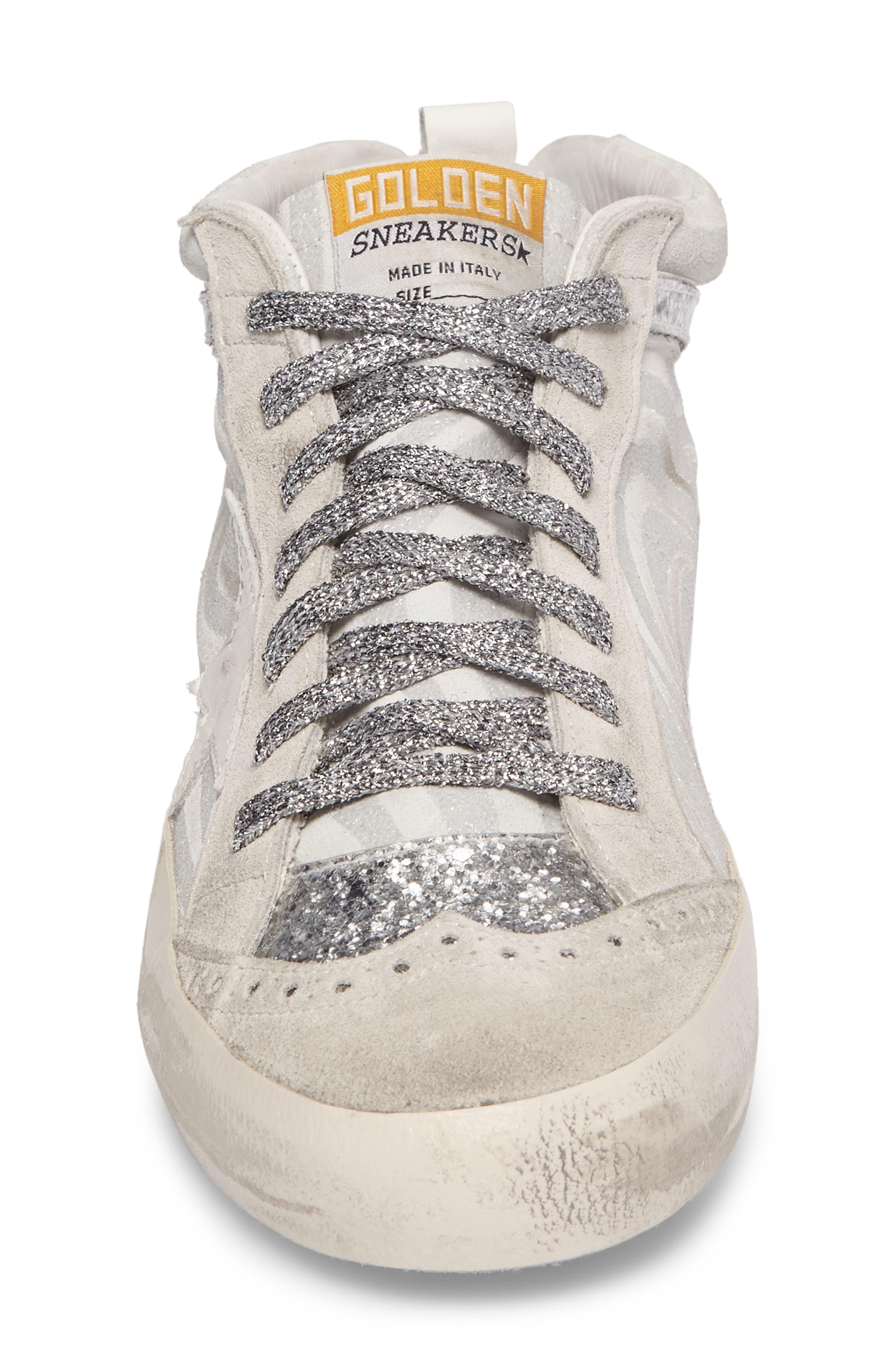 Star Mid Top Sneaker,                             Alternate thumbnail 4, color,                             White Zebra