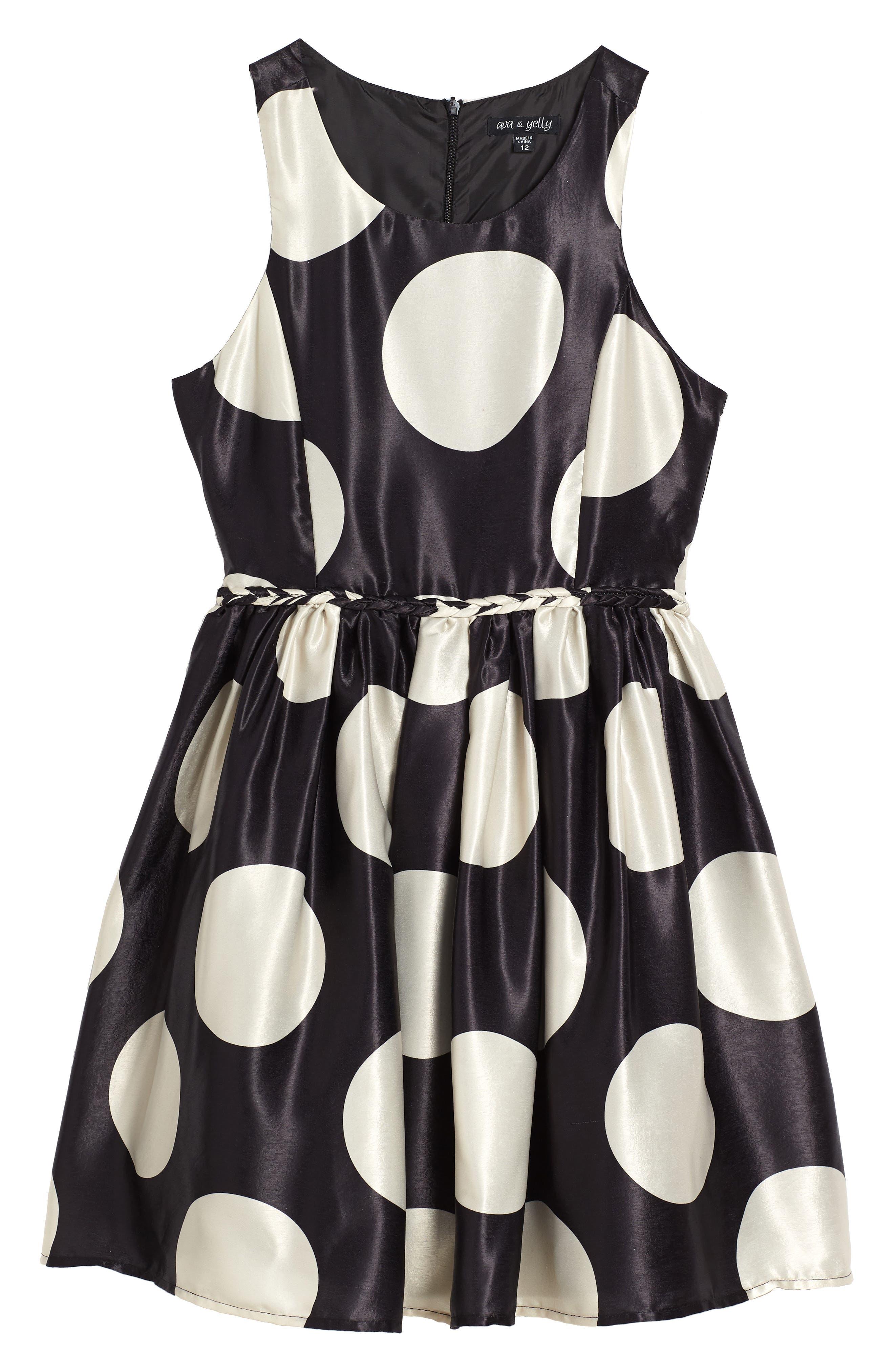 Braided Waist Fit & Flare Dress,                             Main thumbnail 1, color,                             Black/ Tan