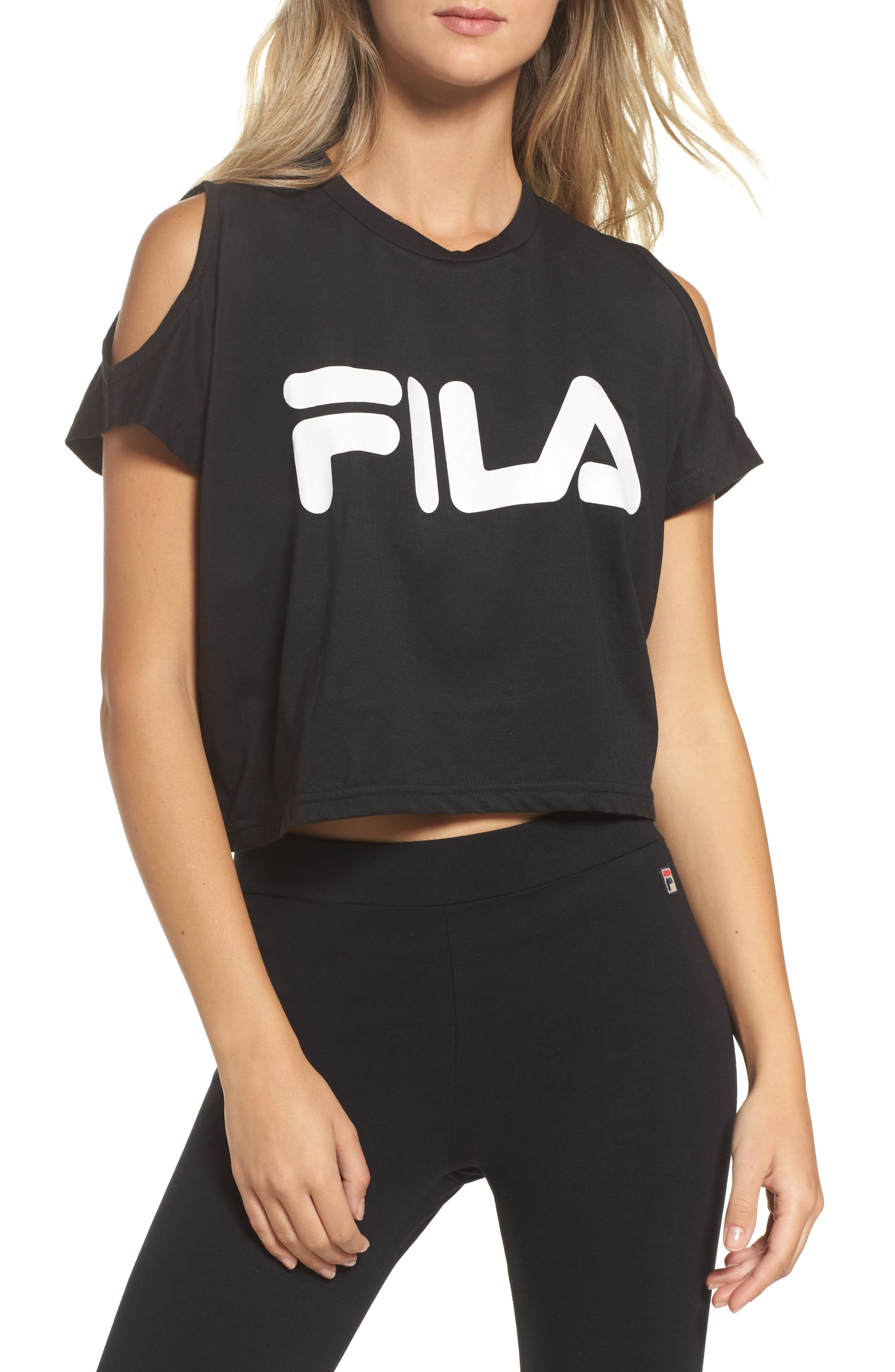 Alternate Image 1 Selected - FILA Nikki Cold Shoulder Crop Tee