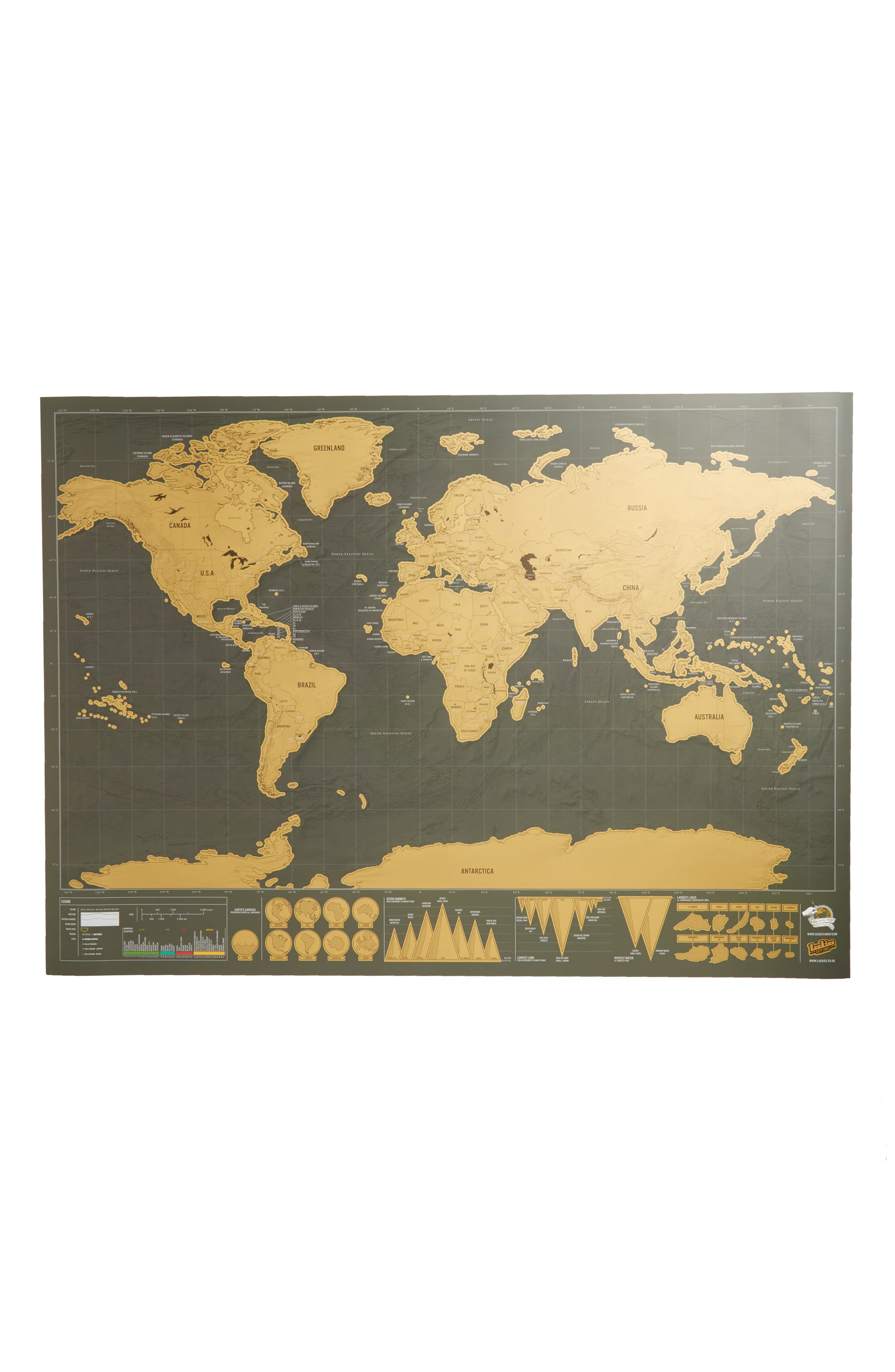 Deluxe Edition Scratch Map<sup>®</sup>,                         Main,                         color, Metallic Gold