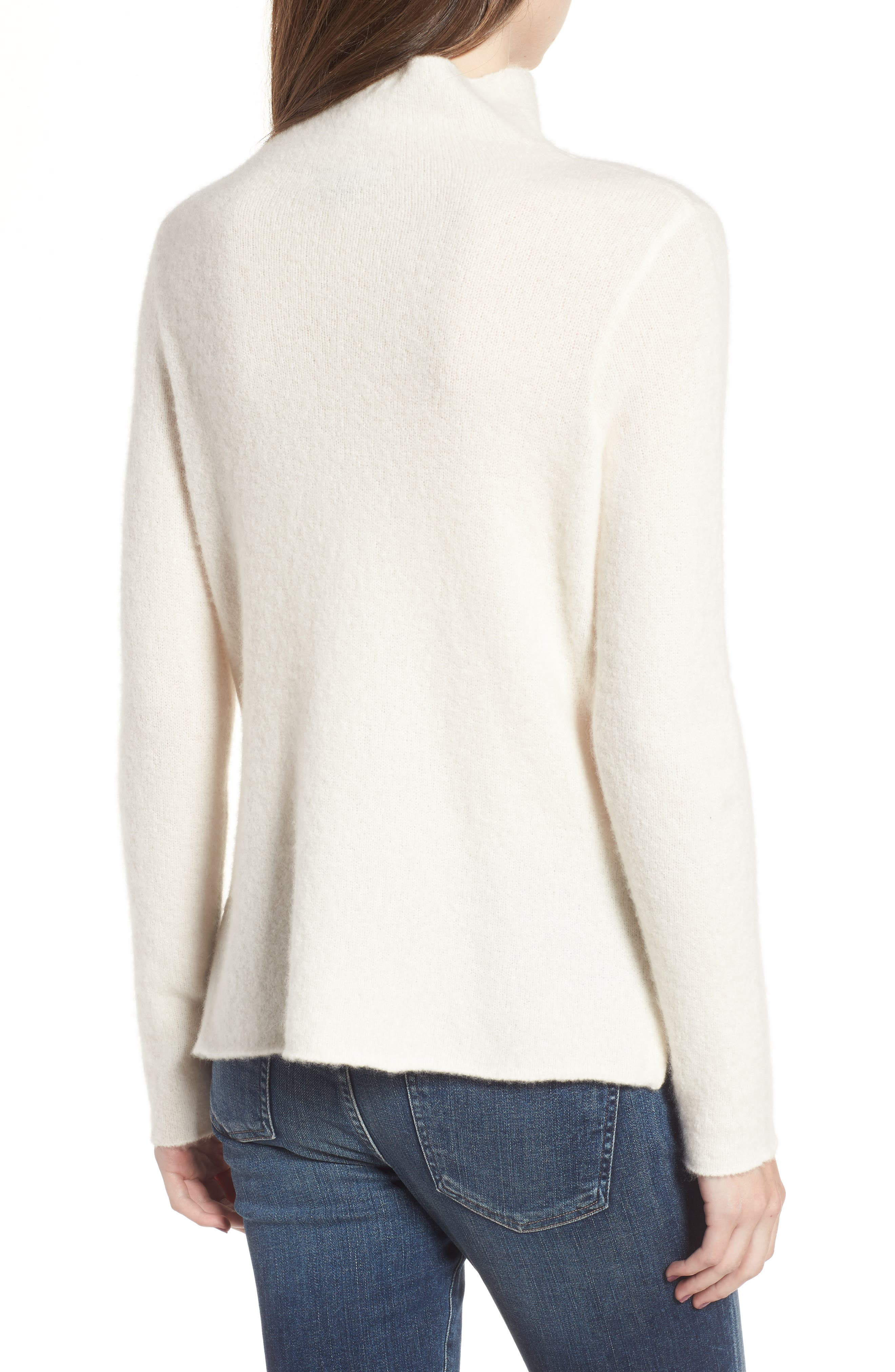 Stretch Cashmere Mock Neck Sweater,                             Alternate thumbnail 2, color,                             Ivory