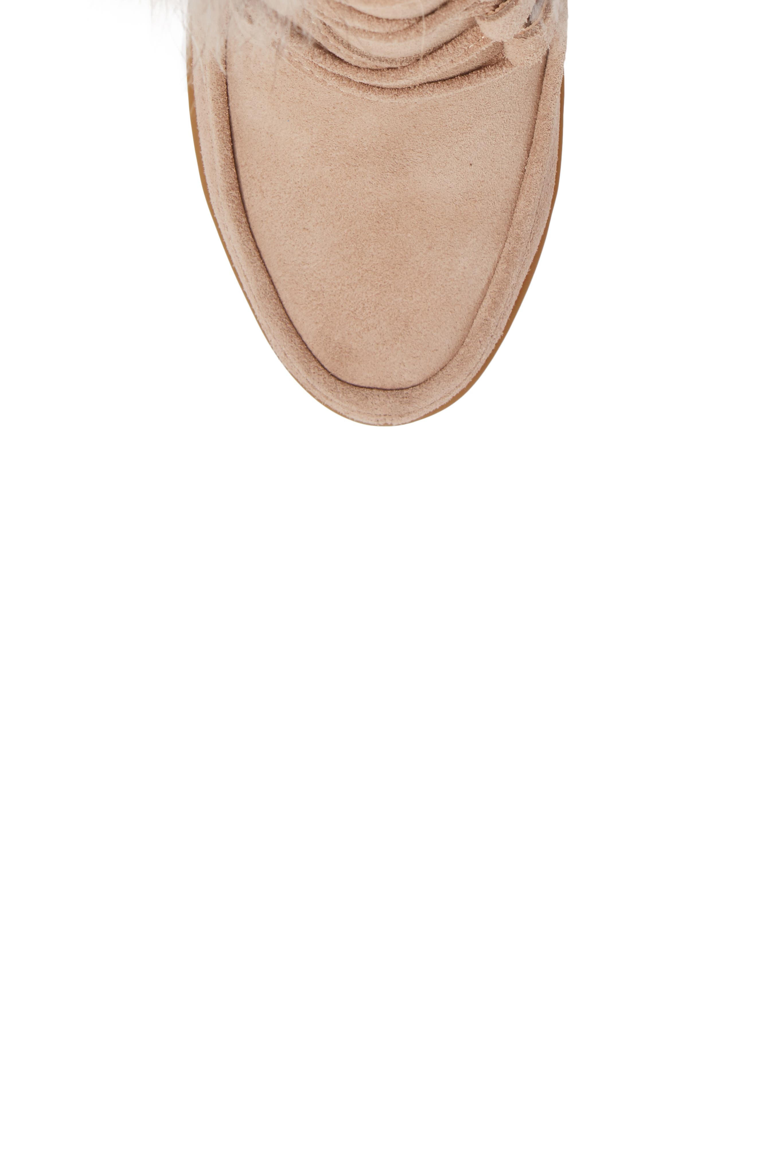 Holly Wedge Bootie with Genuine Fox Fur Trim,                             Alternate thumbnail 5, color,                             Natural Suede