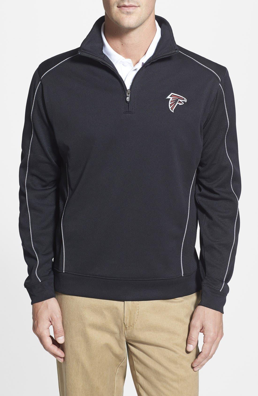 Atlanta Falcons - Edge DryTec Moisture Wicking Half Zip Pullover,                             Main thumbnail 1, color,                             Black