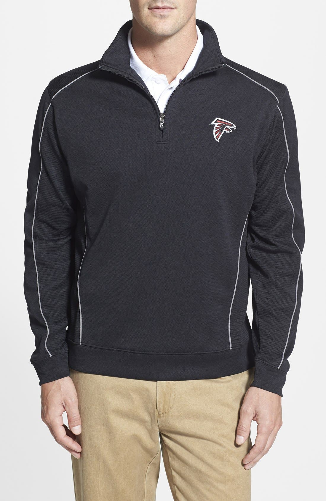 Atlanta Falcons - Edge DryTec Moisture Wicking Half Zip Pullover,                         Main,                         color, Black
