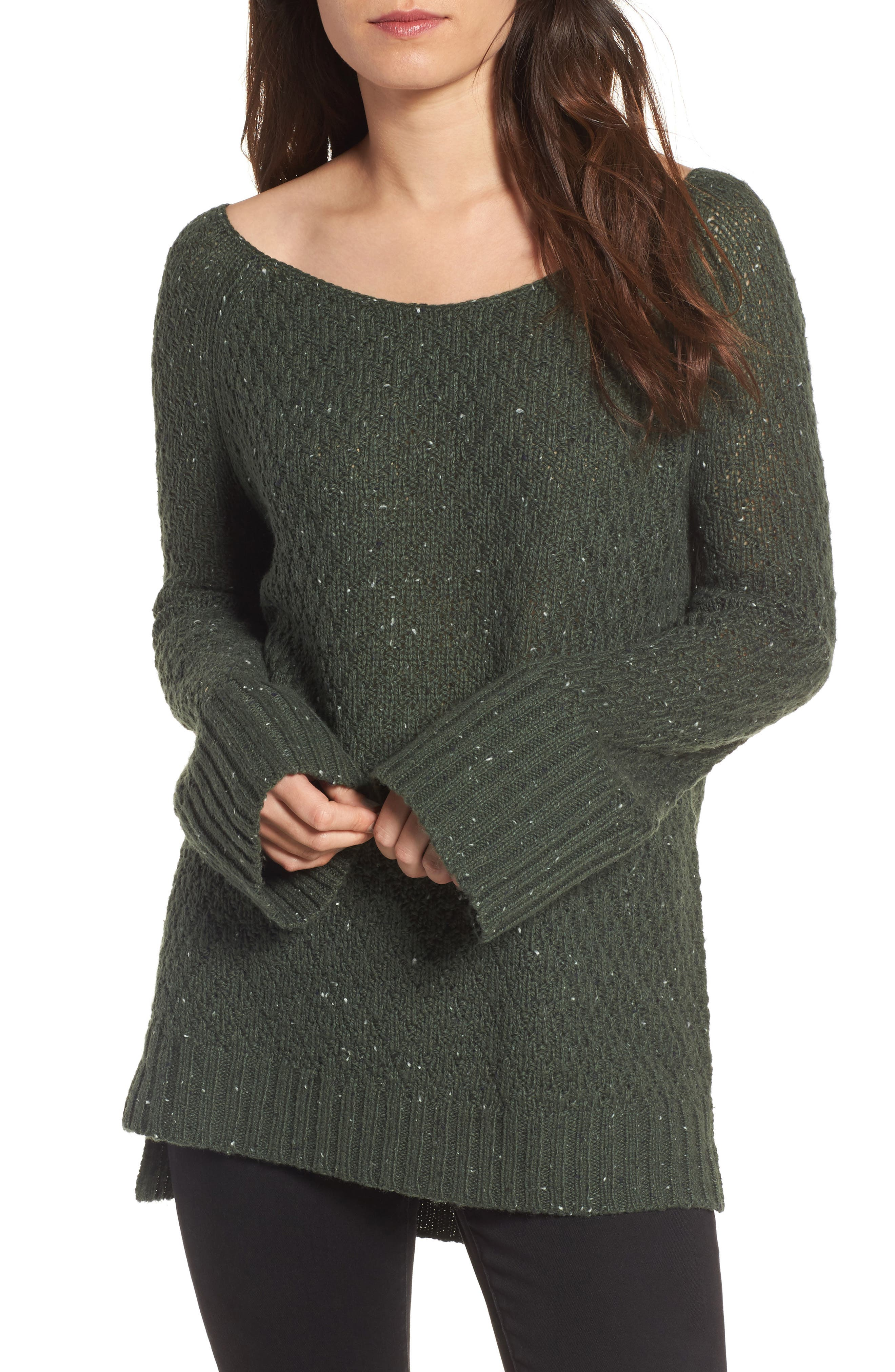 Slouchy Tunic Sweater,                         Main,                         color, Green Wood