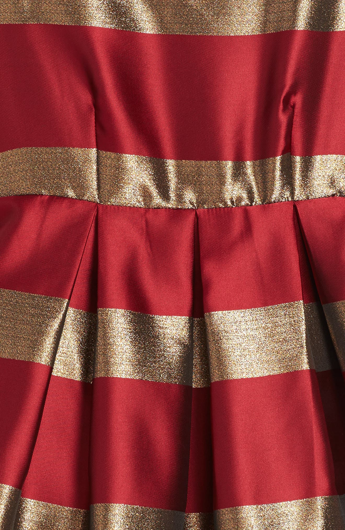 Stripe Fit & Flare Dress,                             Alternate thumbnail 3, color,                             Red/ Gold